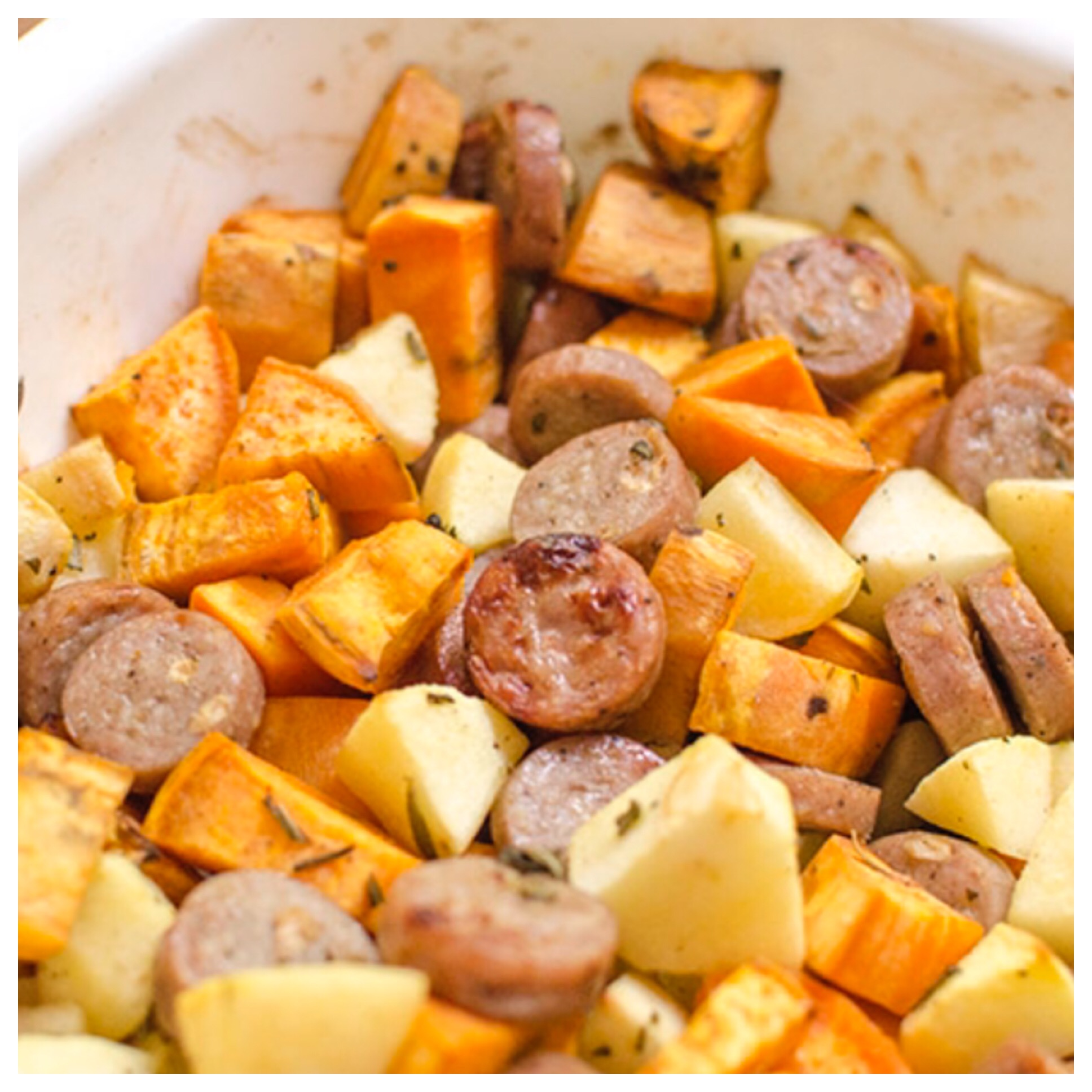 Not your usual cheesy, creamy casserole, but easy and satisfying all the same. Sweet potatoes and tart apples are chunked up and baked with chicken sausage and honey mustard.