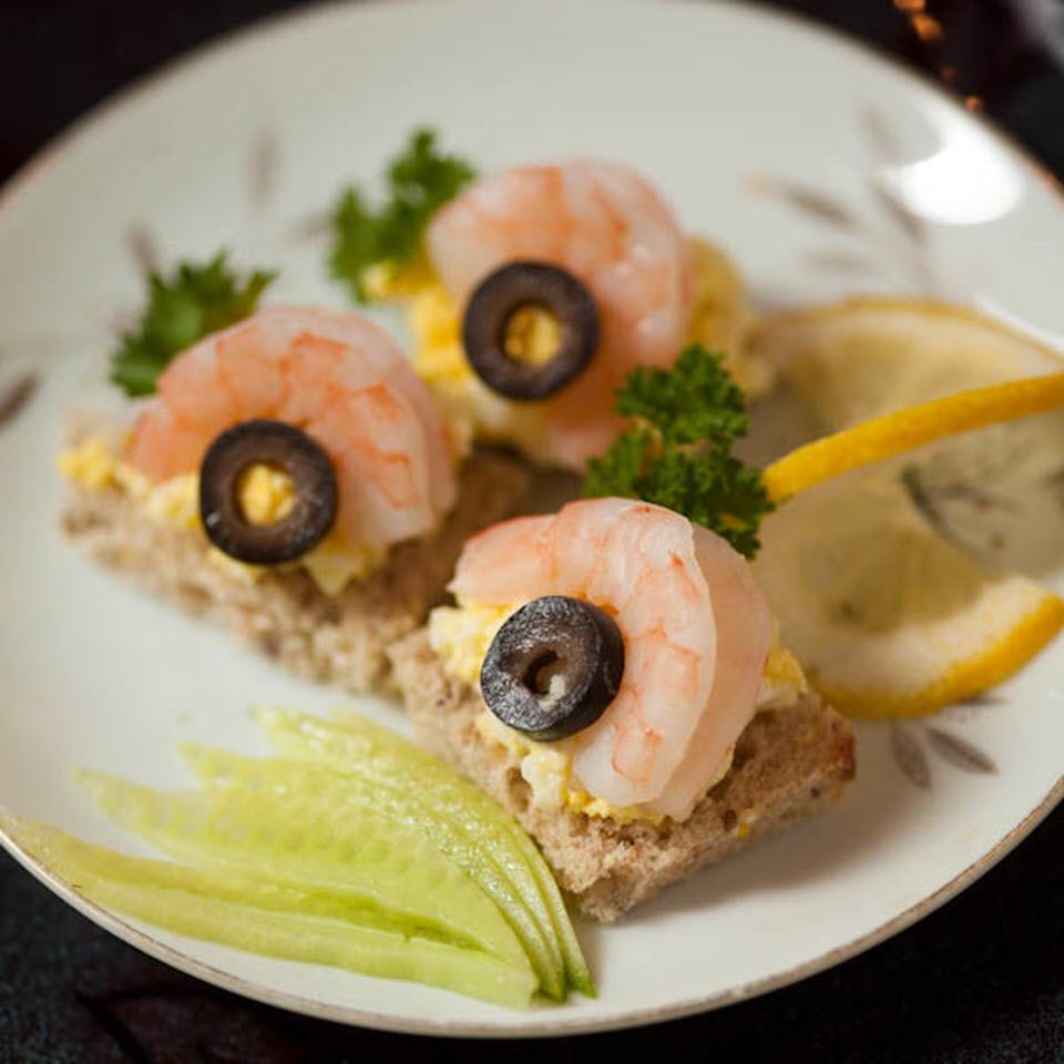 Shrimp Canape with Egg Salad and Olives