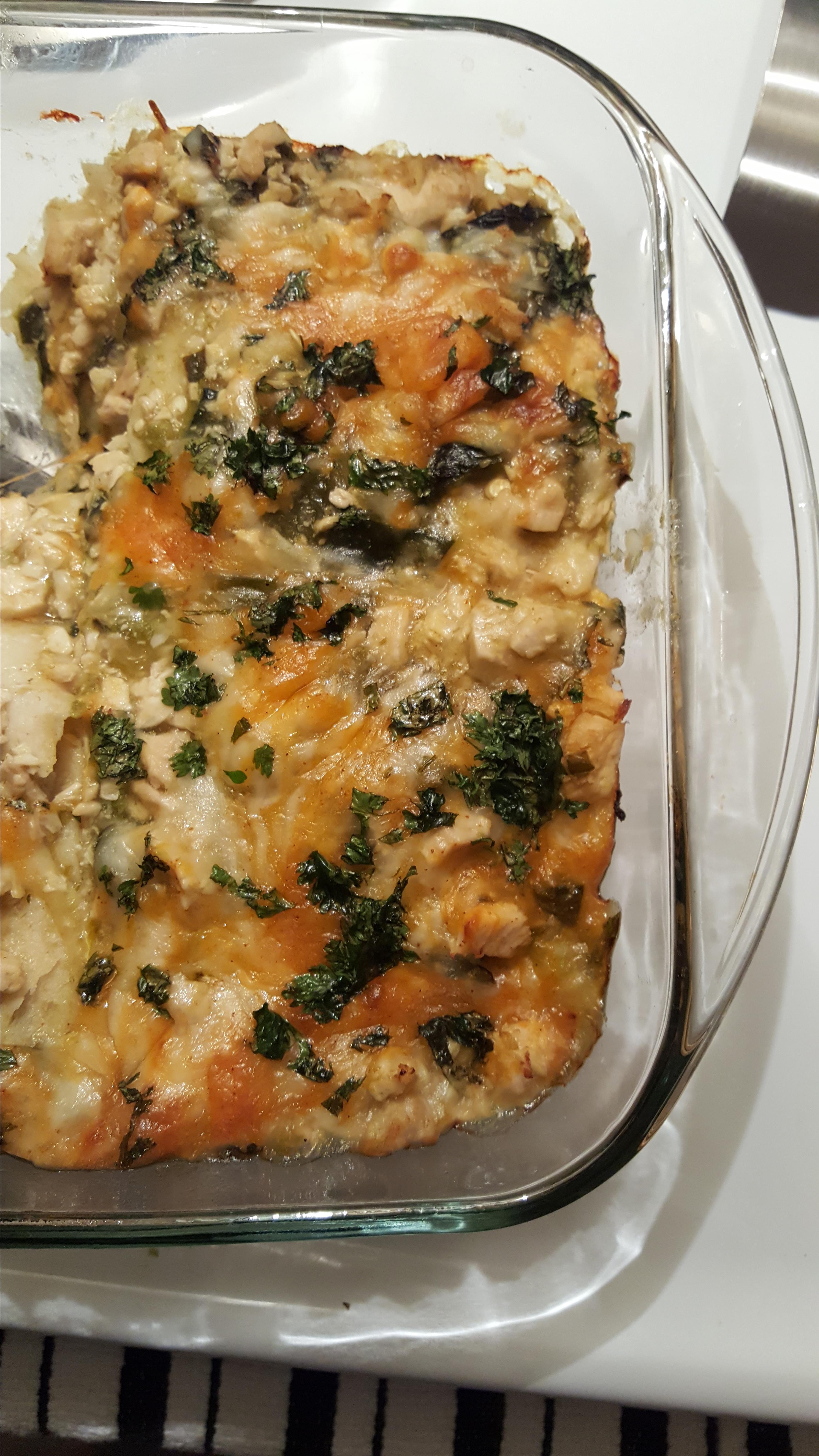 Cheesy Green Chile Chicken Enchilada Casserole Alicia