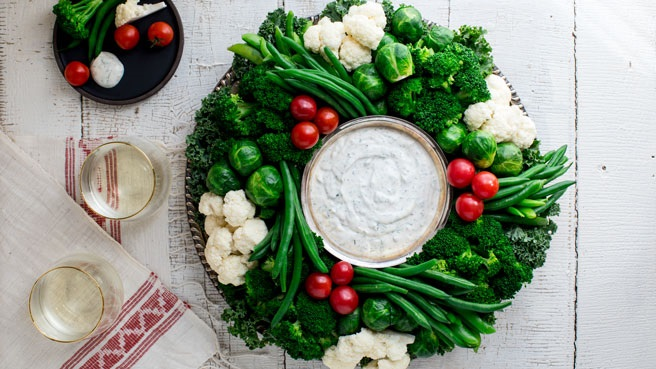 EatingWell Crudité Vegetable Wreath with Ranch Dip Trusted Brands