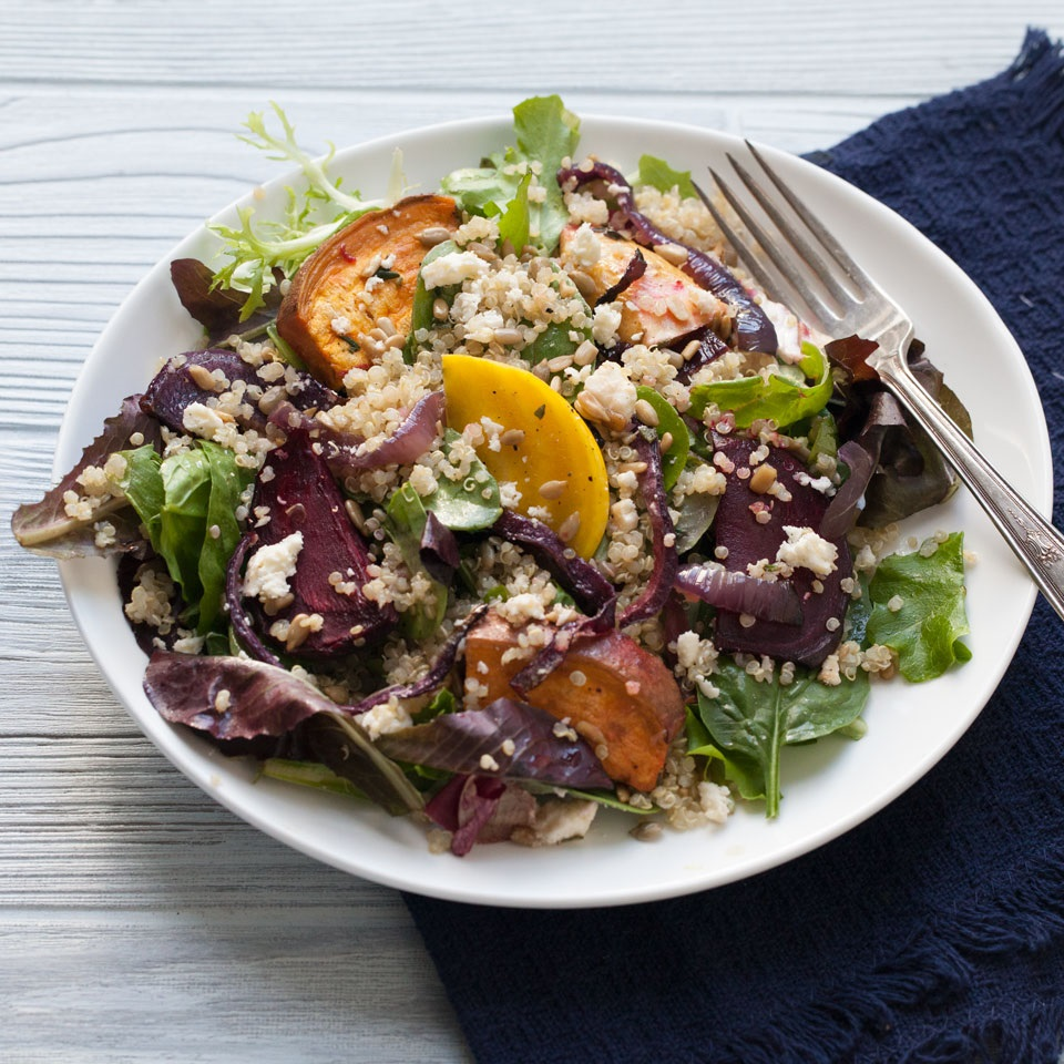 Quick, simple and packed with satisfying protein and fiber, this salad makes a perfect lunch or easy one-dish dinner. Source: EatingWell.com, November 2017
