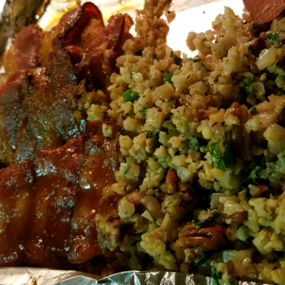 Herby Cauliflower Rice with Pecans and Candied Bacon-Wrapped Chicken fruitdog