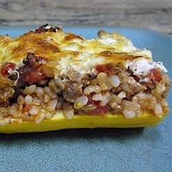 cheese and sausage stuffed zucchini recipe
