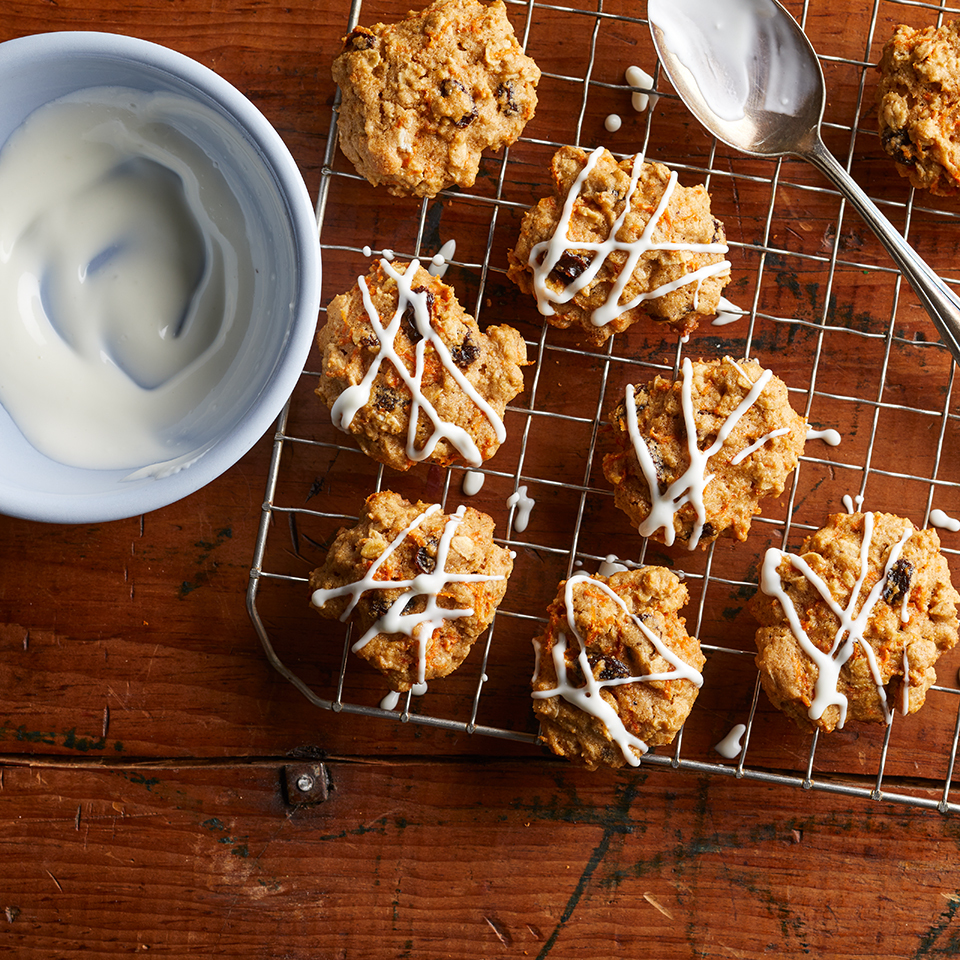 A quick stir-in of grated carrots not only makes these easy drop cookies reminiscent of spicy carrot cake, it also adds sweetness and keeps these cakey cookies moist. A drizzle of cream cheese frosting on top finishes off these better-for-you goodies perfectly. Source: EatingWell.com, November 2017