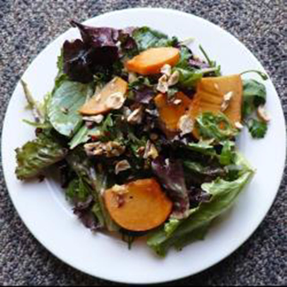 Mixed Greens with Hazelnuts and Persimmons