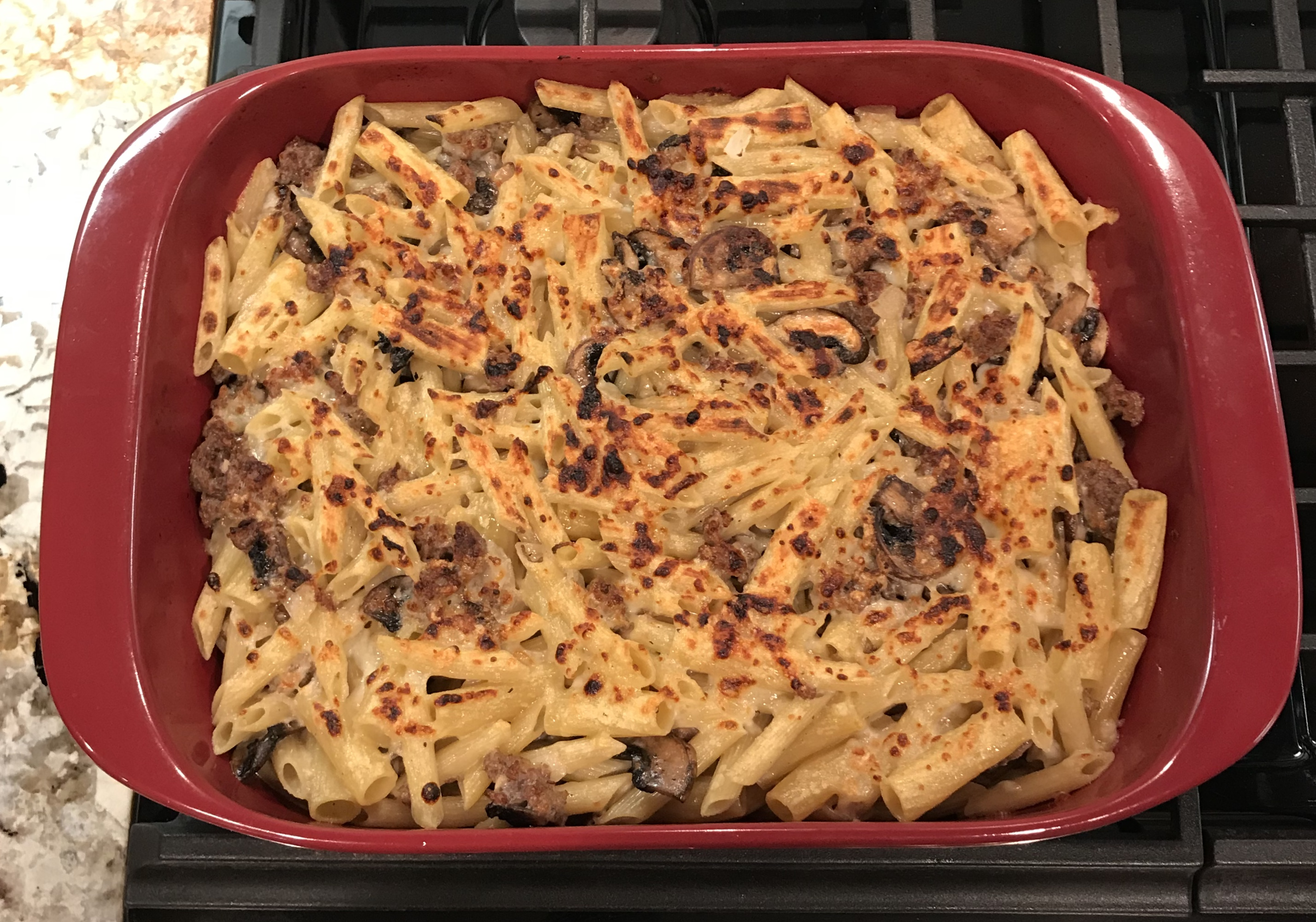 Baked Pasta with Sausage and Baby Portobello Mushroom White Sauce