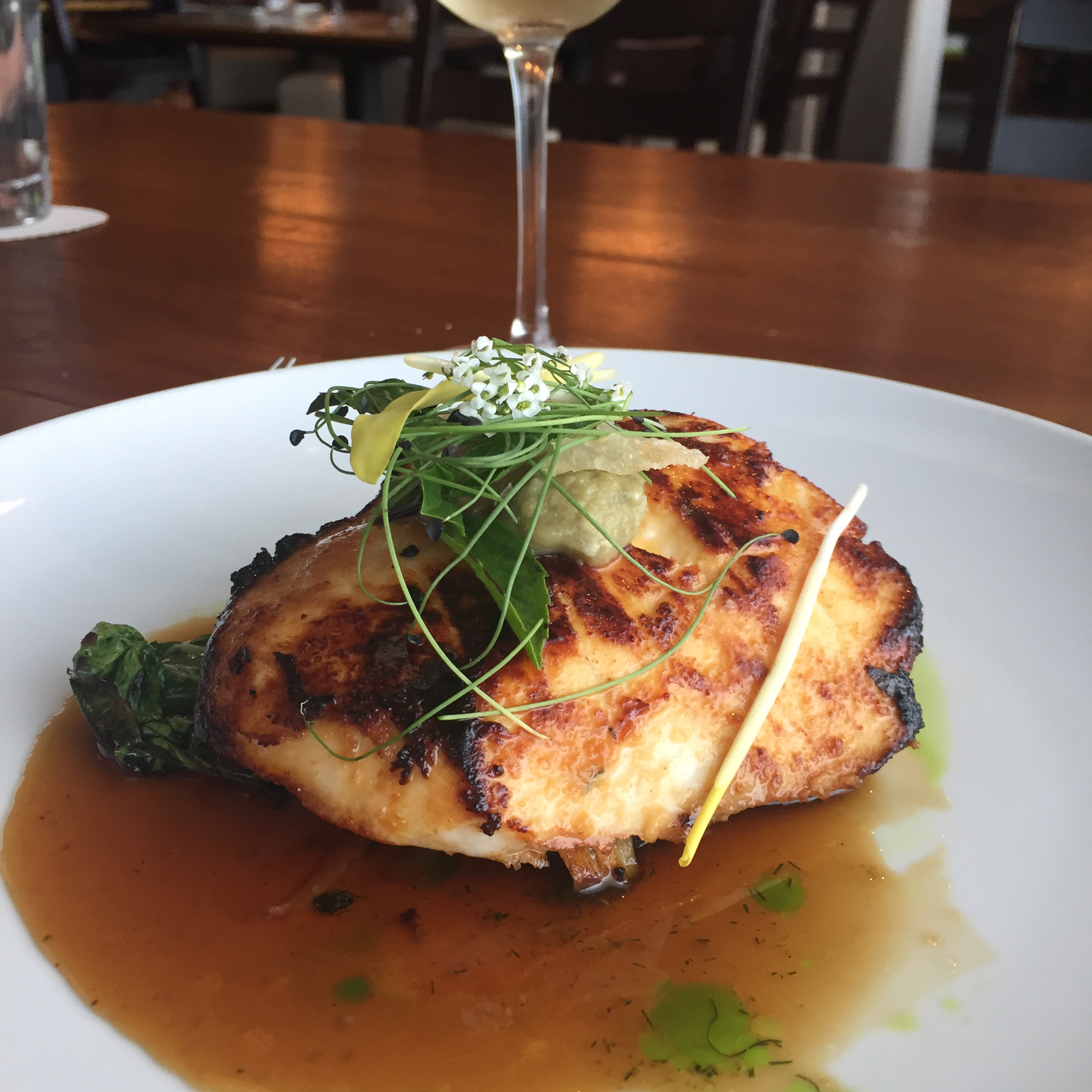 "Butterfish, also known as black cod, is pan-fried in a miso-based marinade and served with lemon beurre blanc, white wine vinegar, and sweet soy sauce. ""This rich miso-crusted butterfish melts in your mouth,"" says Angela Wolery-Garcia. ""I always serve with steamed rice."""