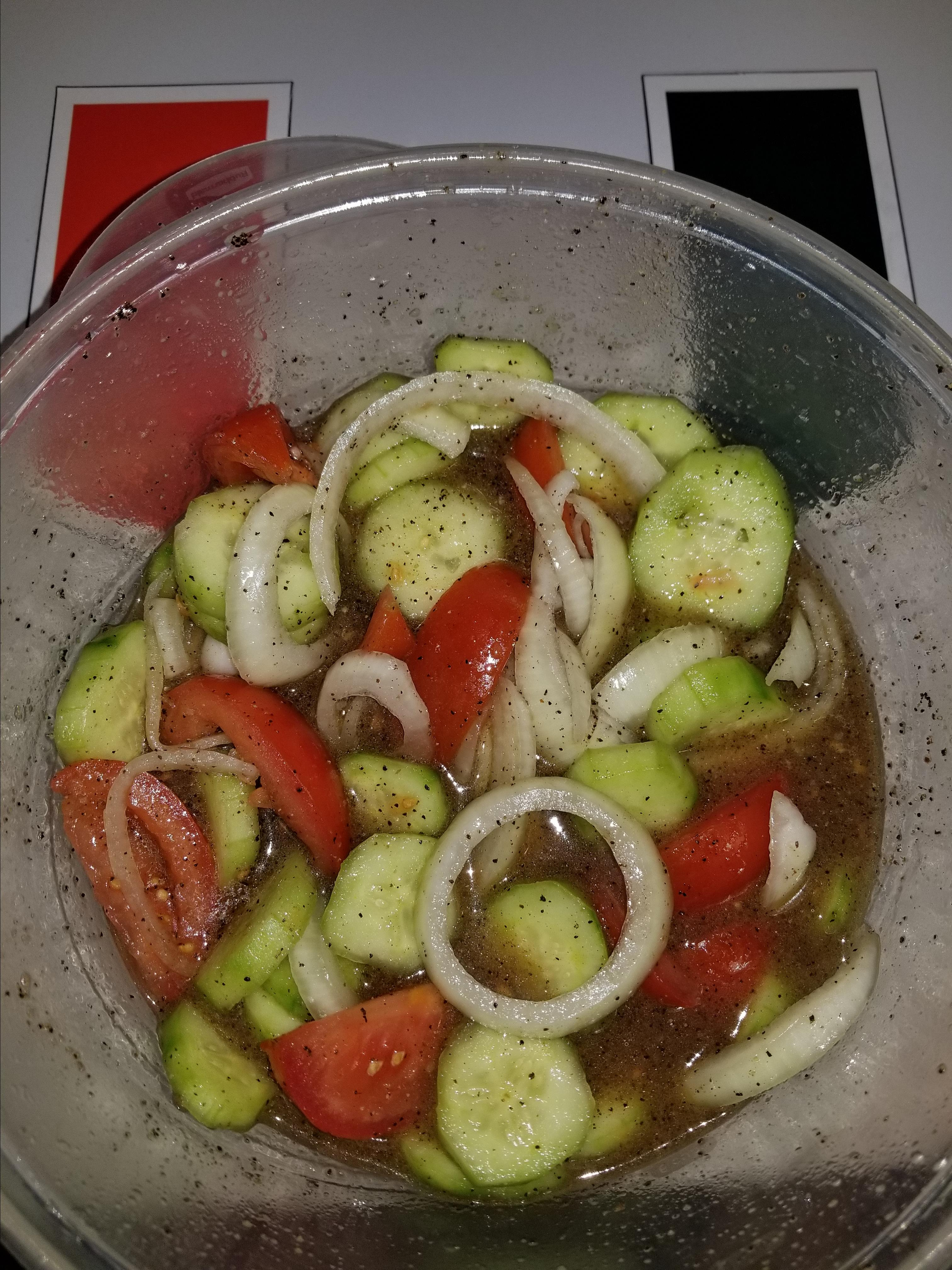 Marinated Cucumber, Onion, and Tomato Salad