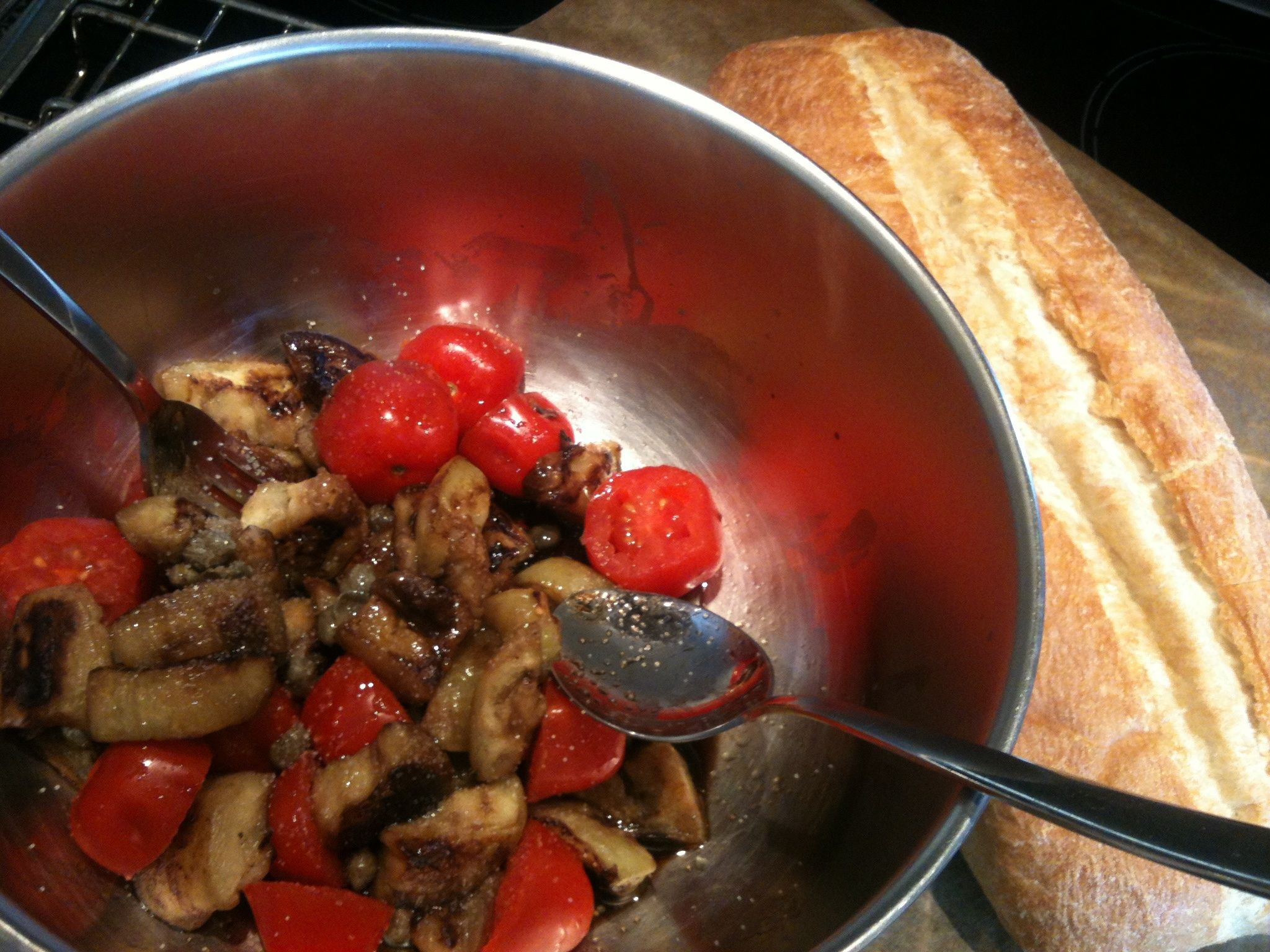 Pan-fried Eggplant Salad with Tomatoes