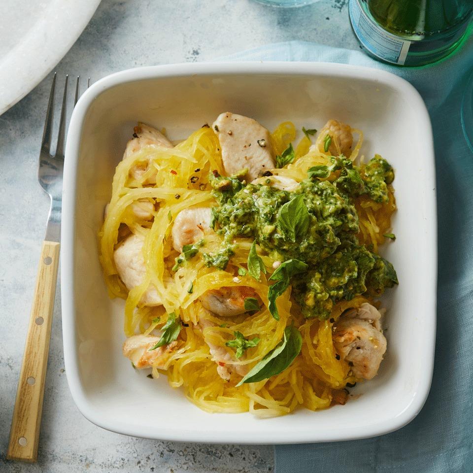 Spaghetti Squash & Chicken with Avocado Pesto Carolyn Casner