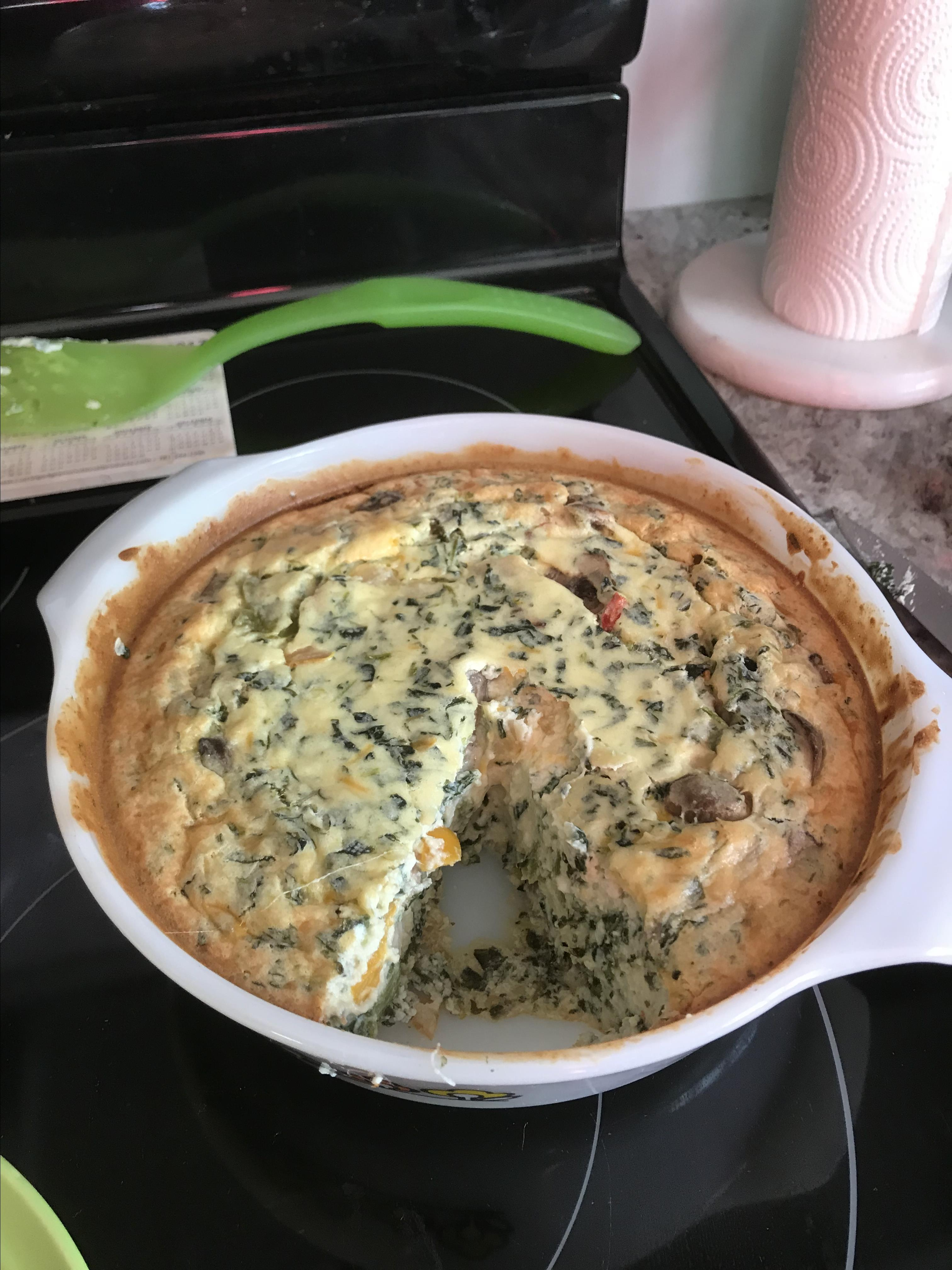 Simple Crustless Spinach and Mushroom Quiche Katherine Light
