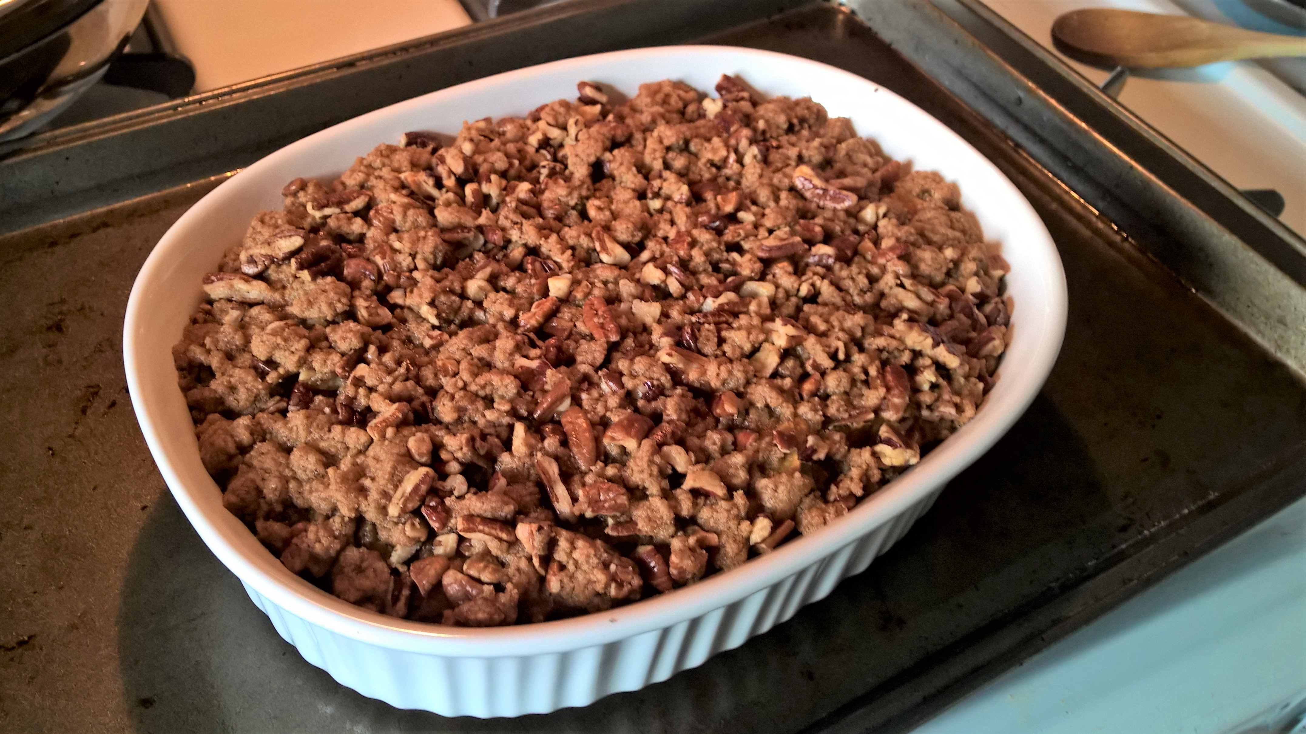 Roasted Sweet Potato Casserole with Pecan Crumble