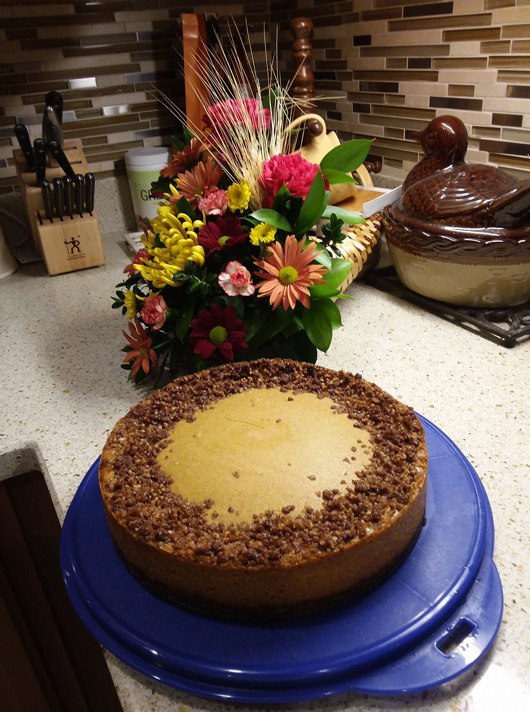 Vegan Pumpkin Cheesecake with Gingersnap Pecan Crust