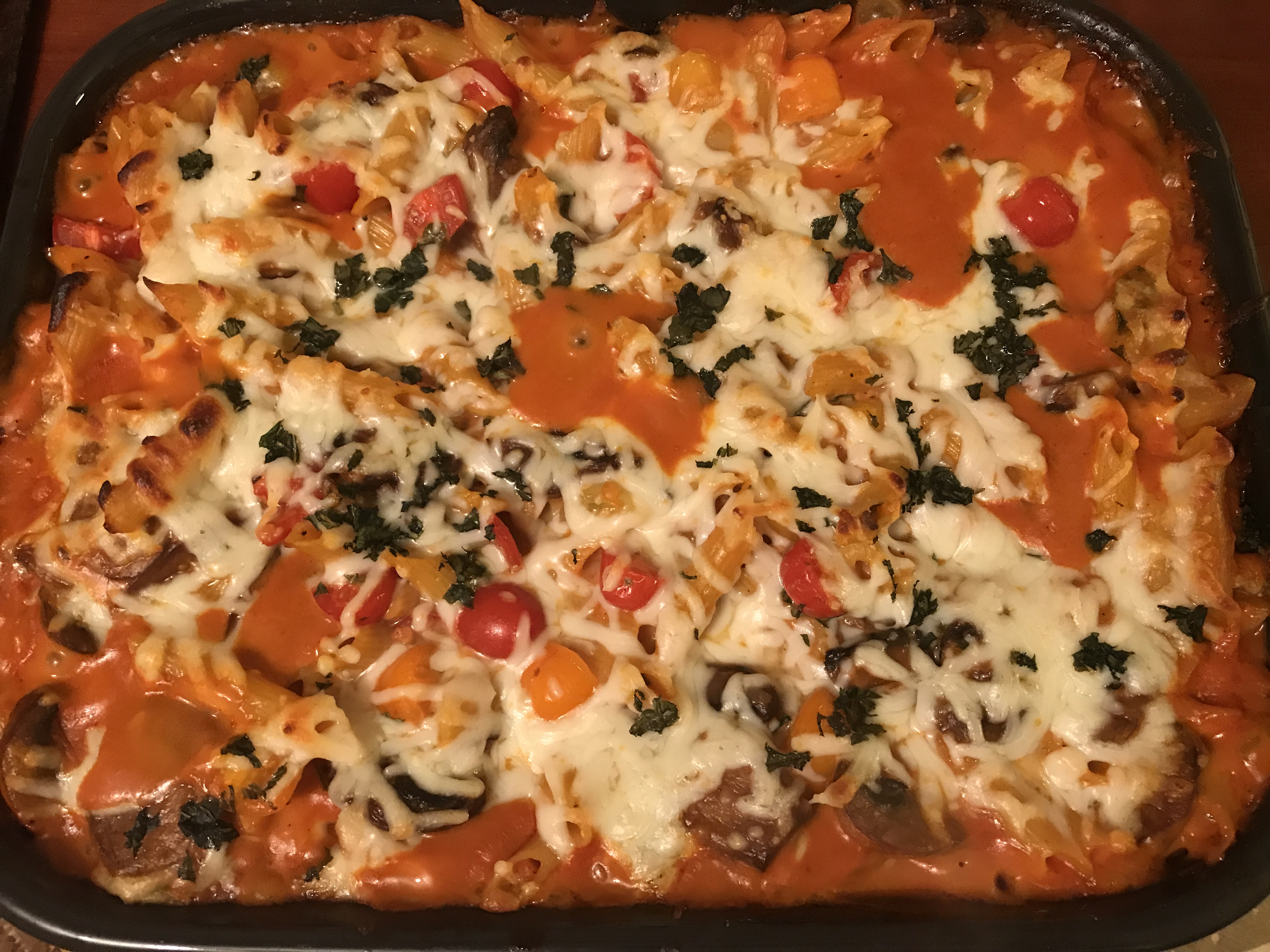 Creamy Pasta Bake with Cherry Tomatoes and Basil Butch Cotton