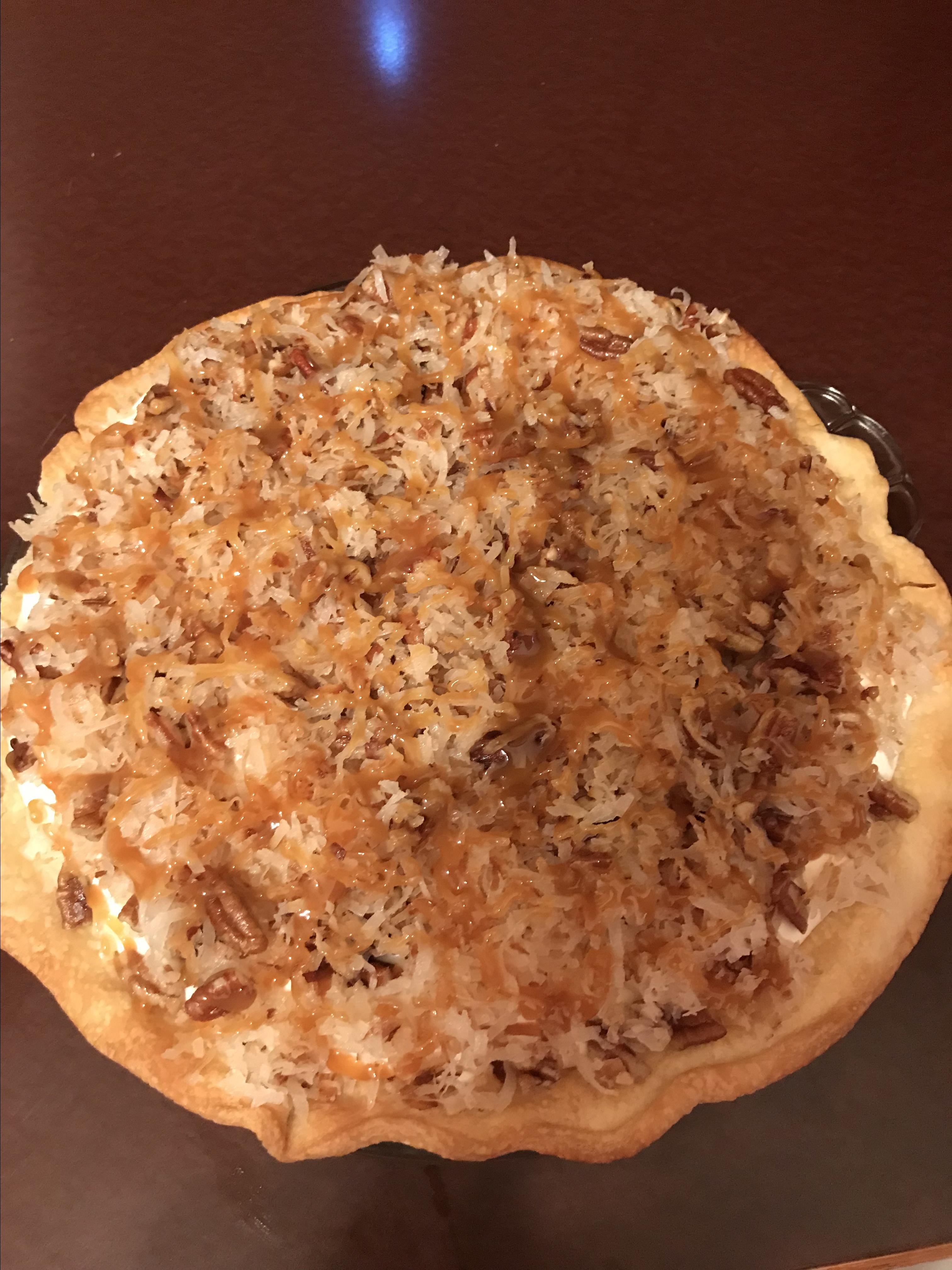 Toasted Coconut, Pecan, and Caramel Pie