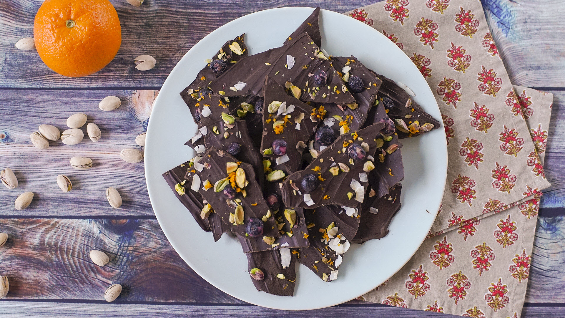 Blueberry, Coconut, and Pistachio Chocolate Bark Magda