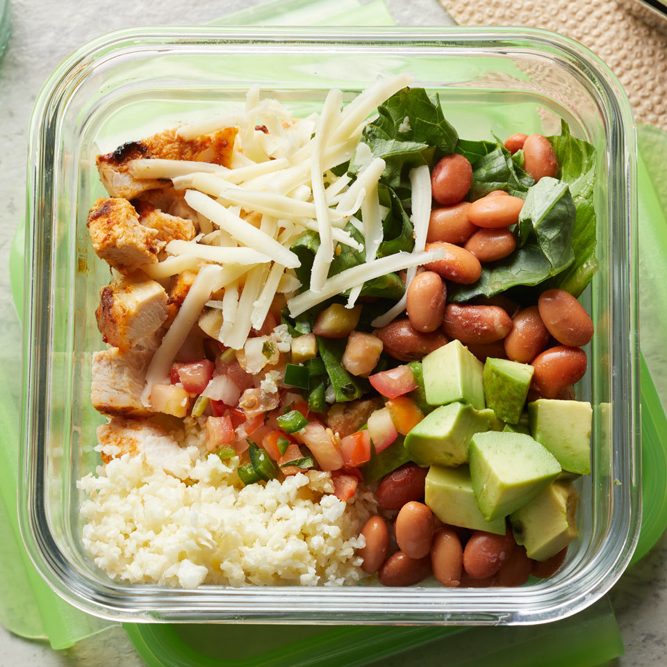 This easy-to-make and meal-prep burrito bowl is even better than takeout! You'll never miss the carbs in this protein-packed, super-flavorful meal that replaces the cilantro-lime rice with cauliflower rice. We love this with chicken but it would be just as delicious with shrimp. Source: EatingWell.com, November 2017
