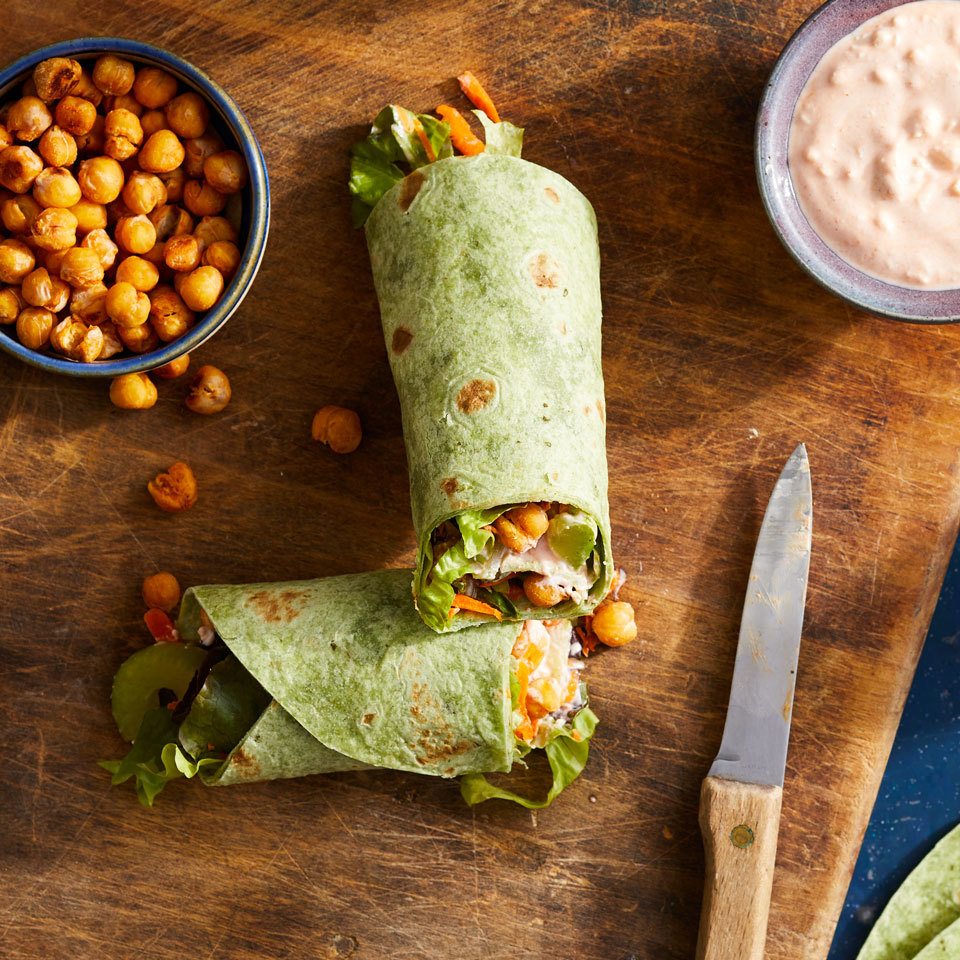 Roasted Buffalo Chickpea Wraps Hilary Meyer