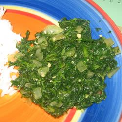 Pan Fried Spinach Snow likes to cook