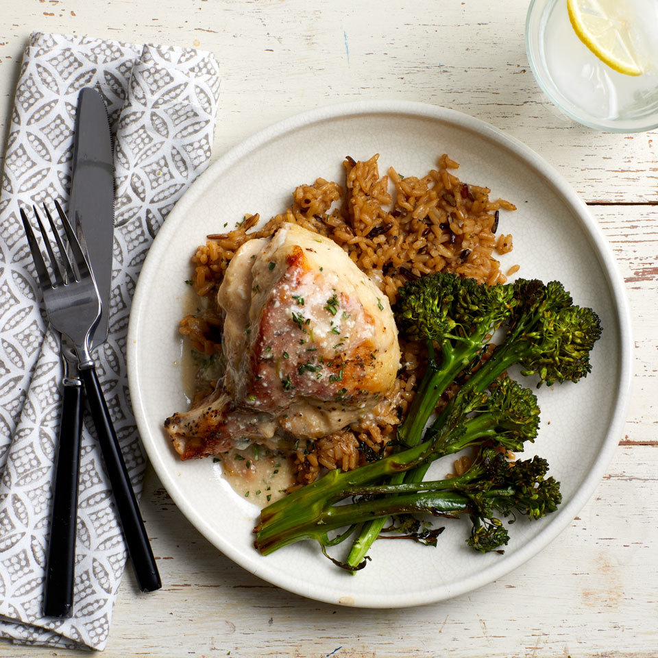 Roast Chicken with Parmesan-Herb Sauce Hilary Meyer