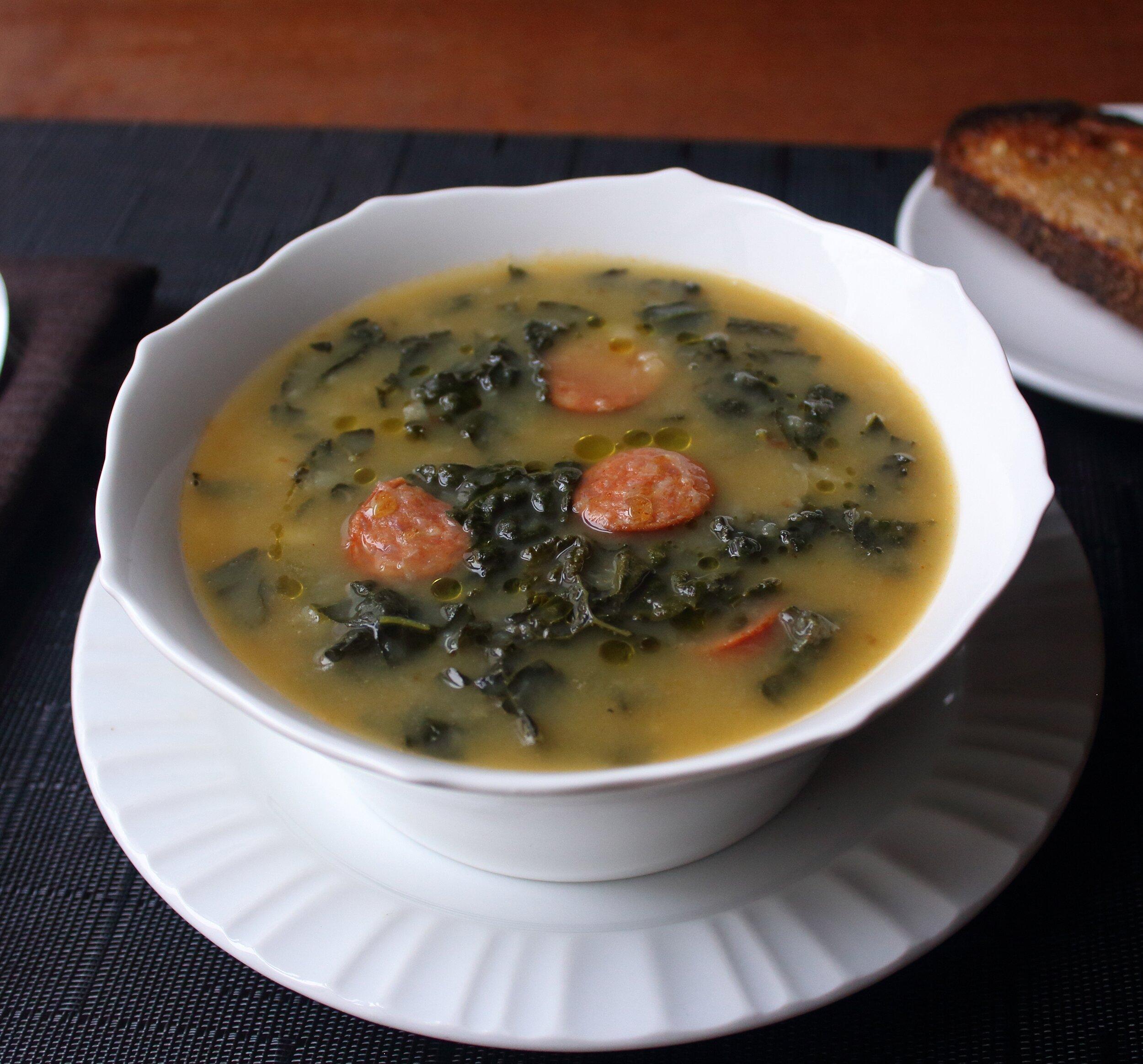 caldo verde portuguese sausage kale soup