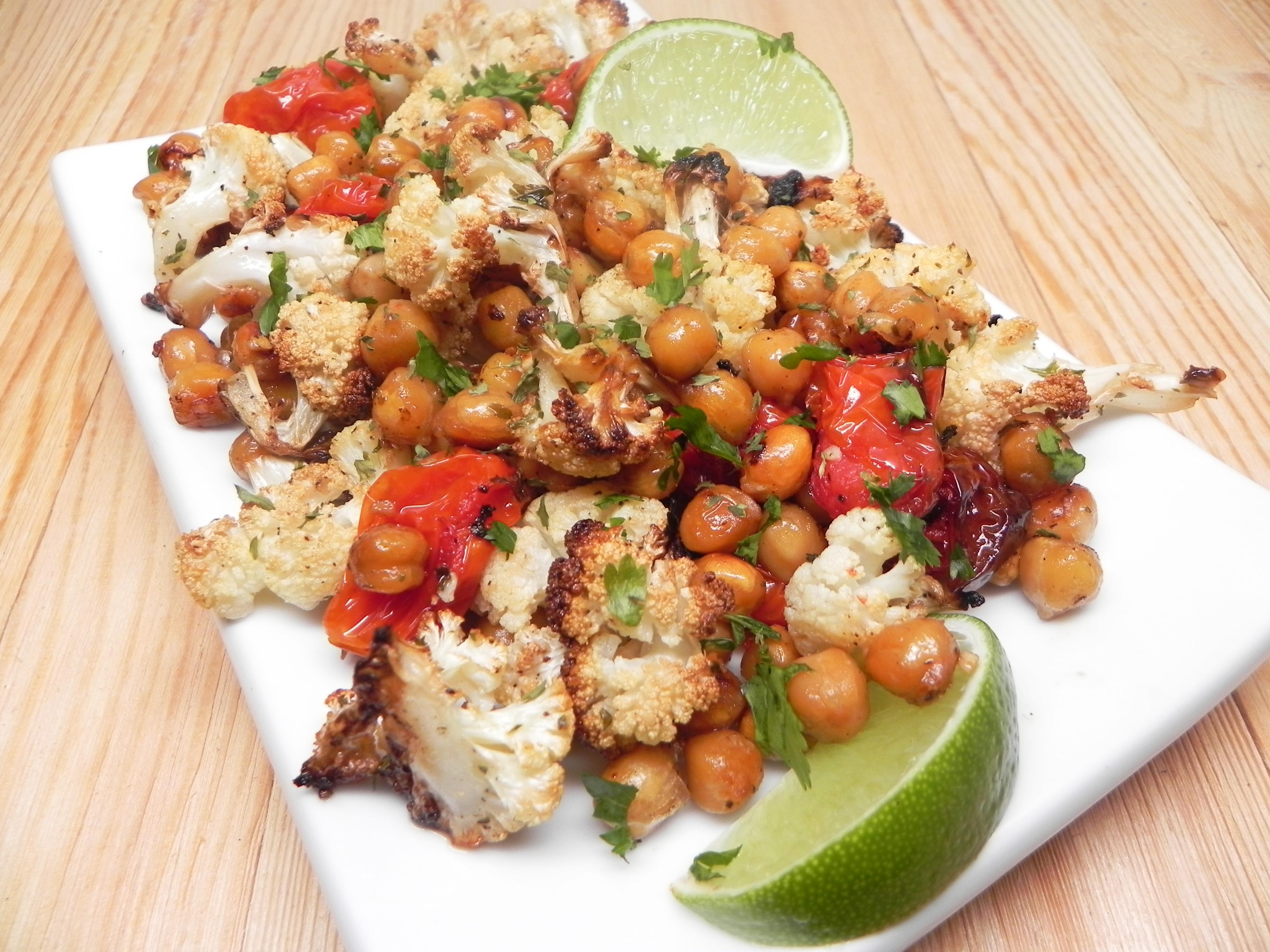 Easy Vegan Sheet Pan Roasted Cauliflower, Tomatoes, and Garbanzo Beans Soup Loving Nicole