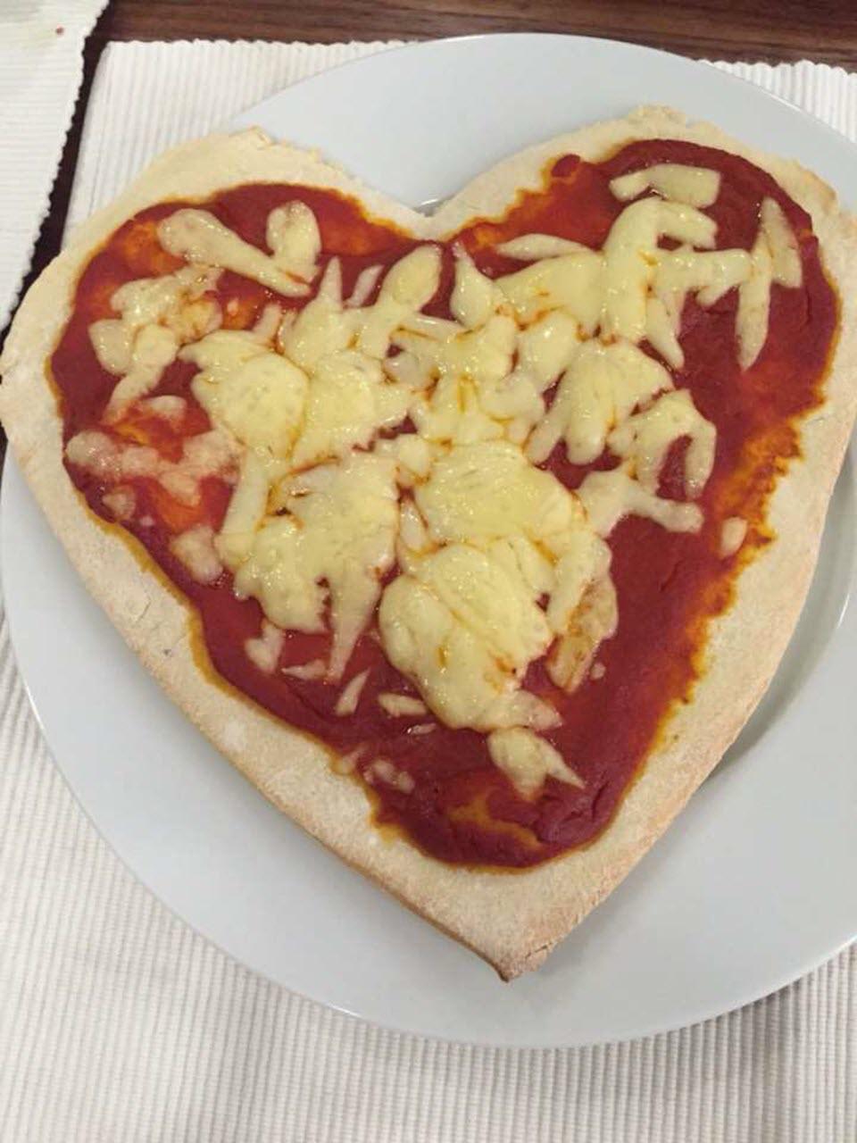 Liv and Zack's Romantic Heart Pizza