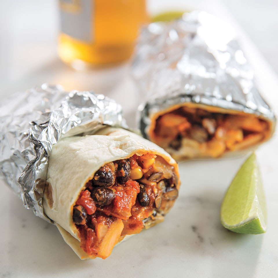 This vegetarian bean burrito recipe is perfect any time of day, from breakfast (add a scrambled egg) to a late-night snack. It's also ideal for days when you need an energy boost to get through a draining event like a soccer tournament or a marathon meeting. Bonus: You can wrap it in foil and eat it on the go.