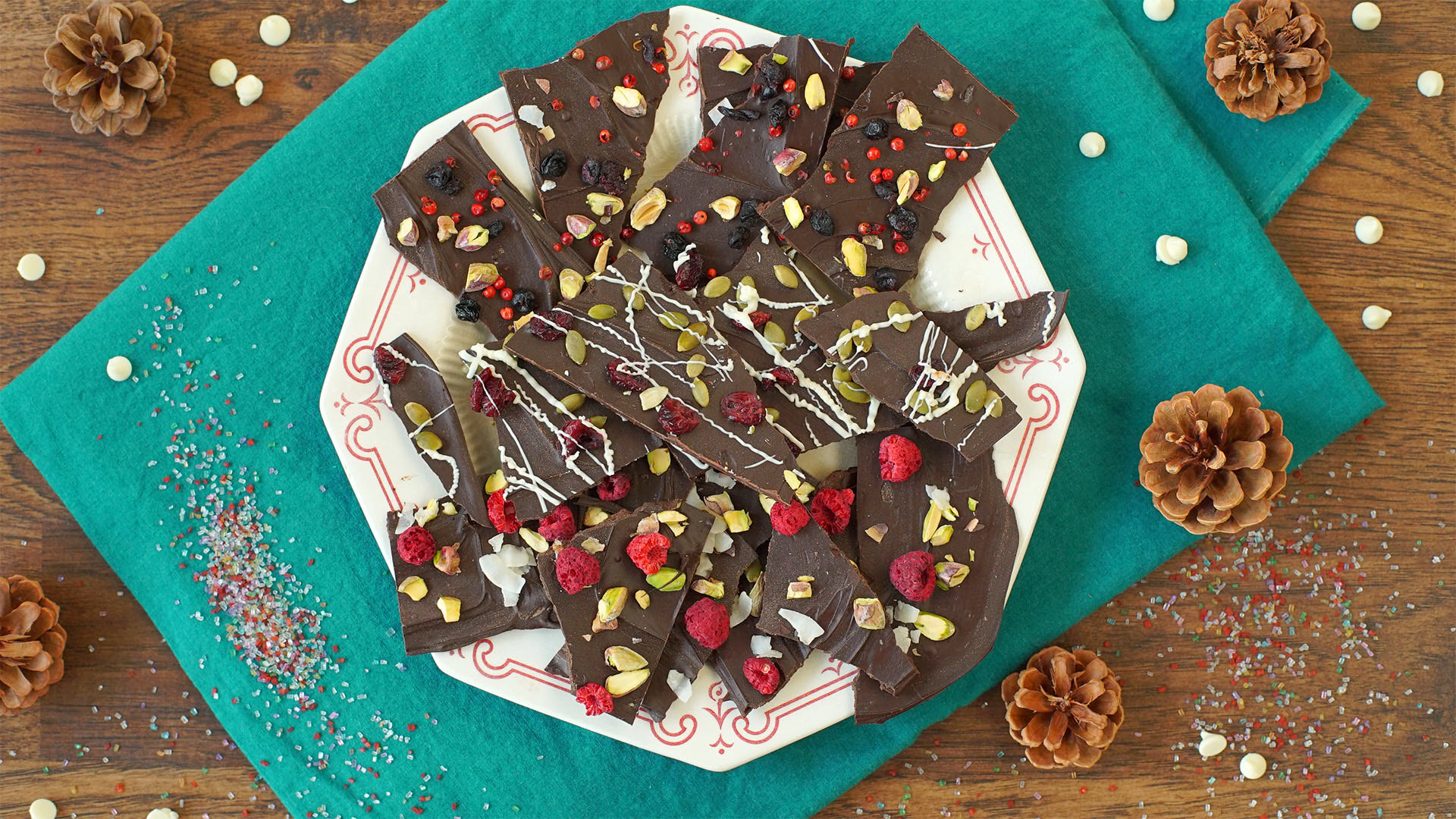 Pistachio, Pink Peppercorn, and Currant Bark