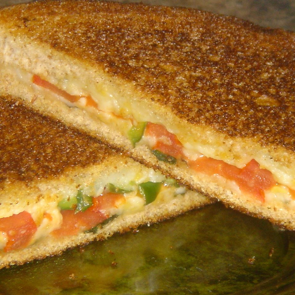 Grilled Cheese with Tomato, Peppers and Basil Jennifer Harris