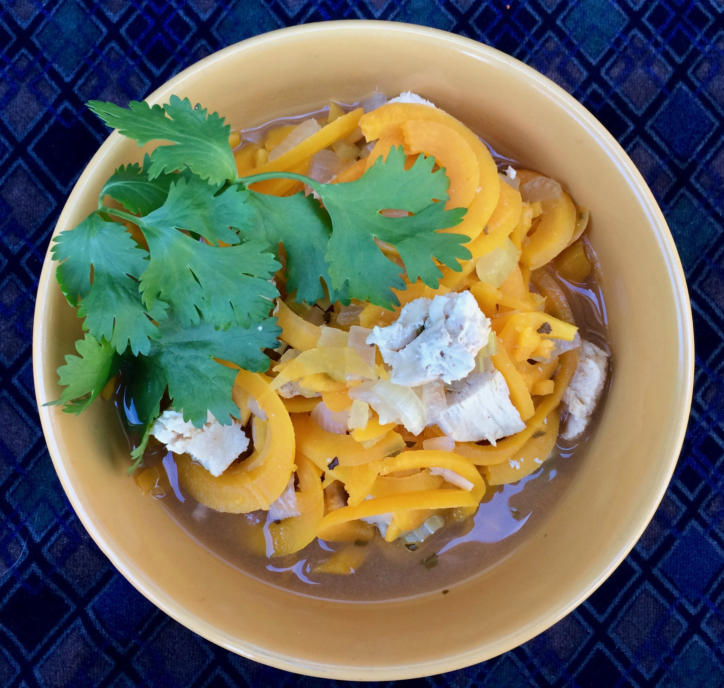 Butternut Squash Noodle Soup with Turkey Bibi