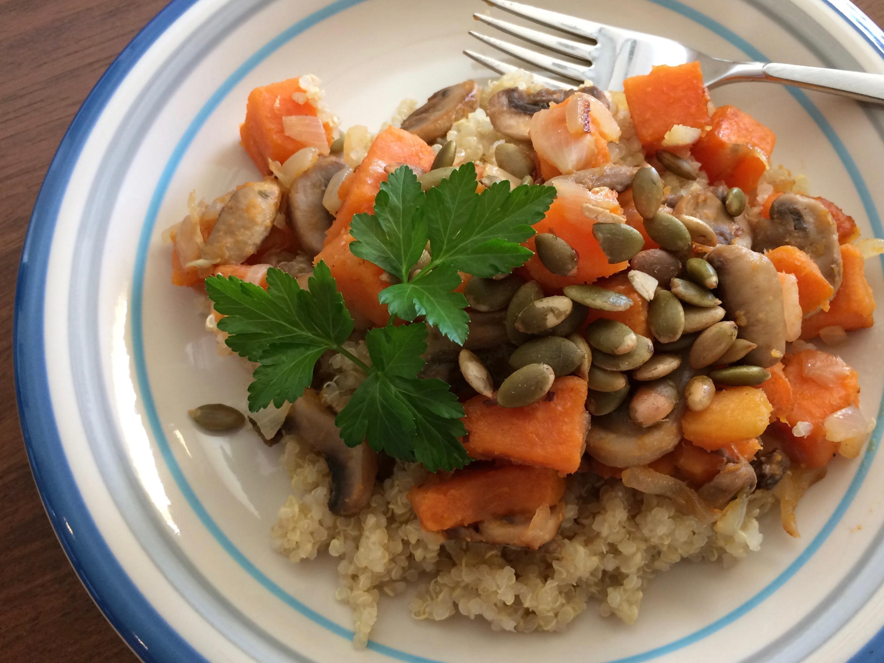 Quinoa with Sweet Potato and Mushrooms pchbloom