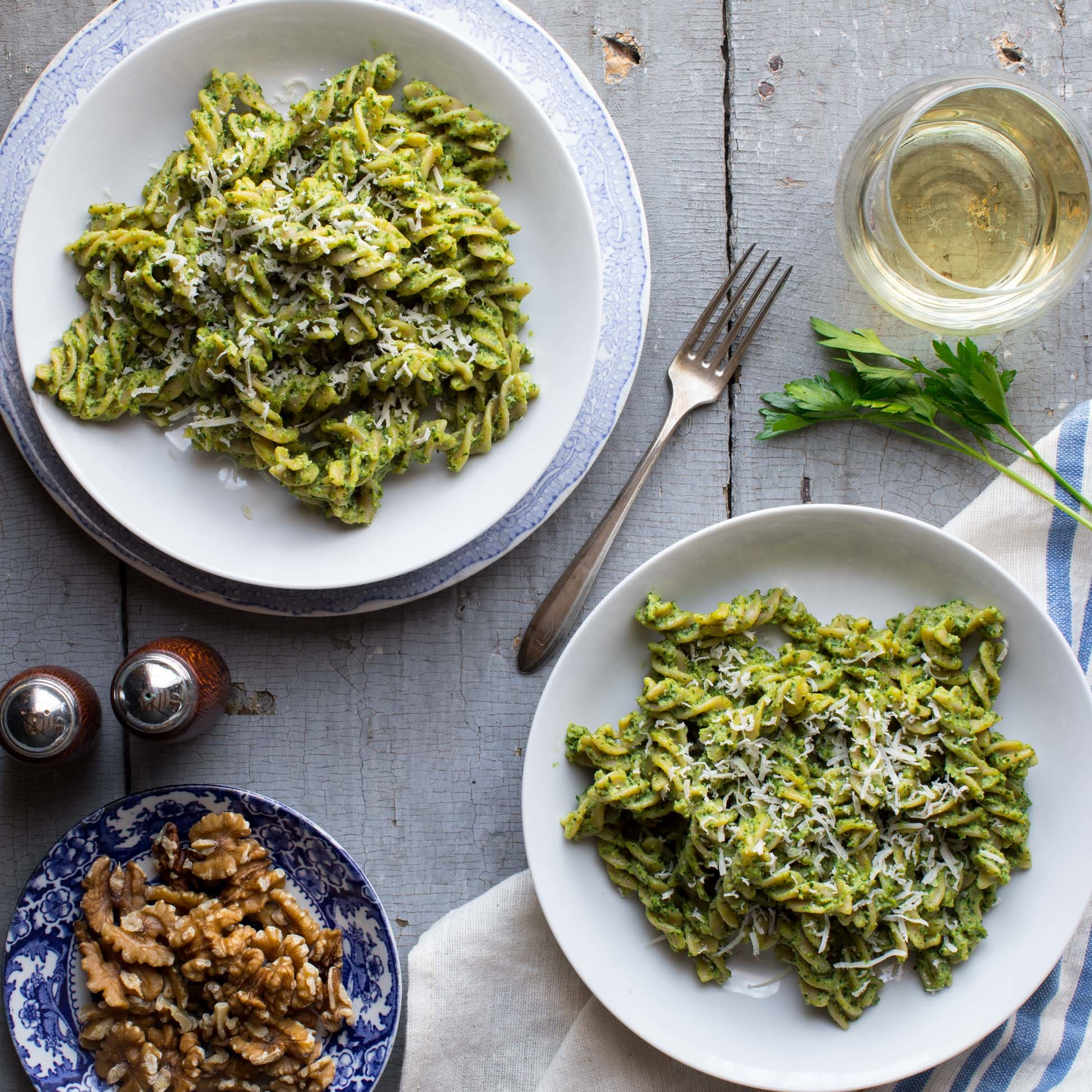 Pasta with Parsley-Walnut Pesto EatingWell Test Kitchen