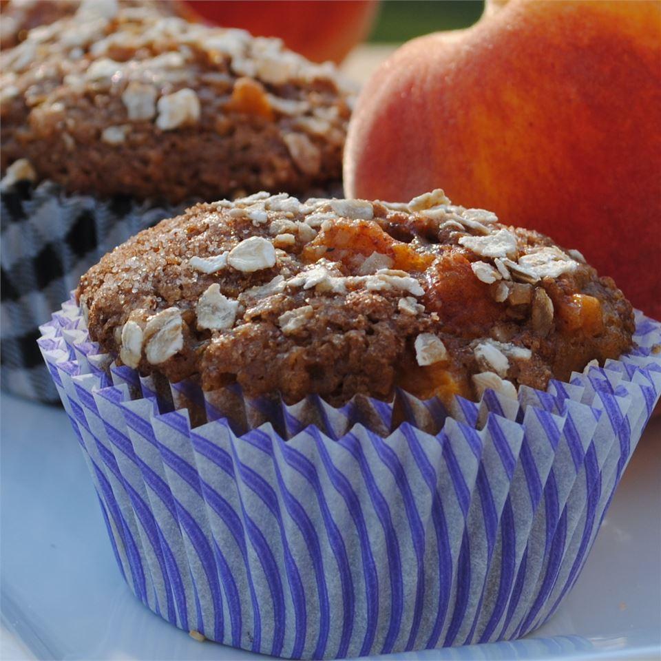 Spiced Peach Oatmeal Muffins