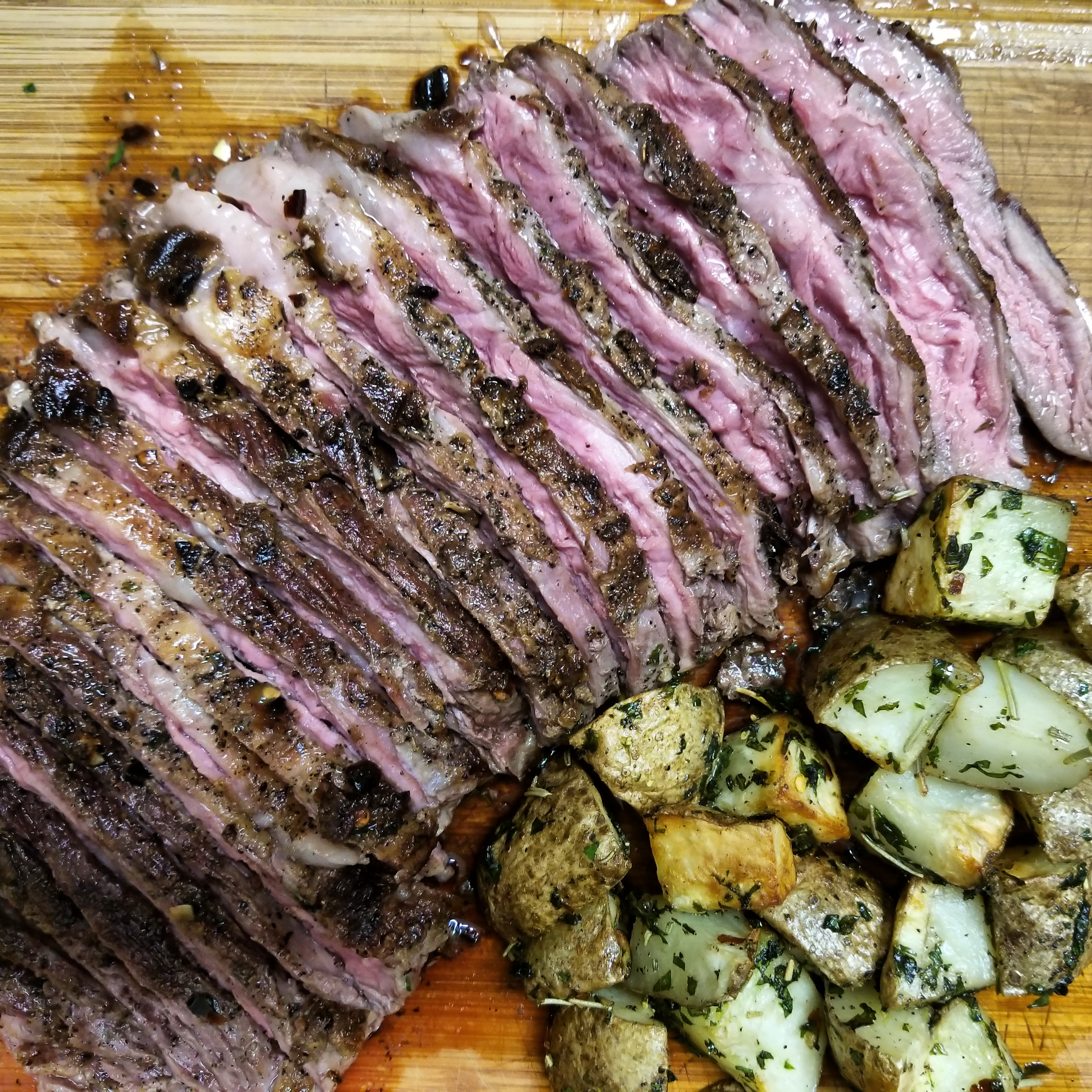 Grilled Skirt Steak with Roasted Potatoes RainbowJewels