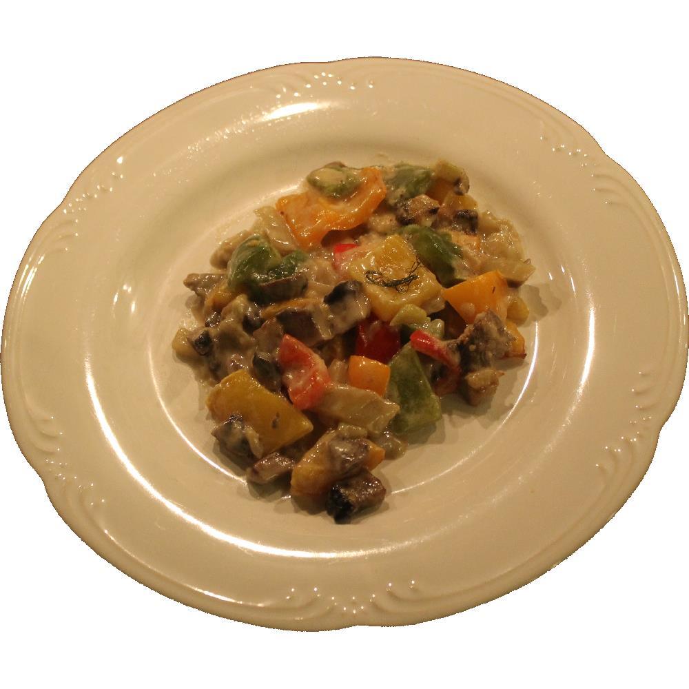 Bell Pepper Gratin with Fennel and Portobello Mushrooms