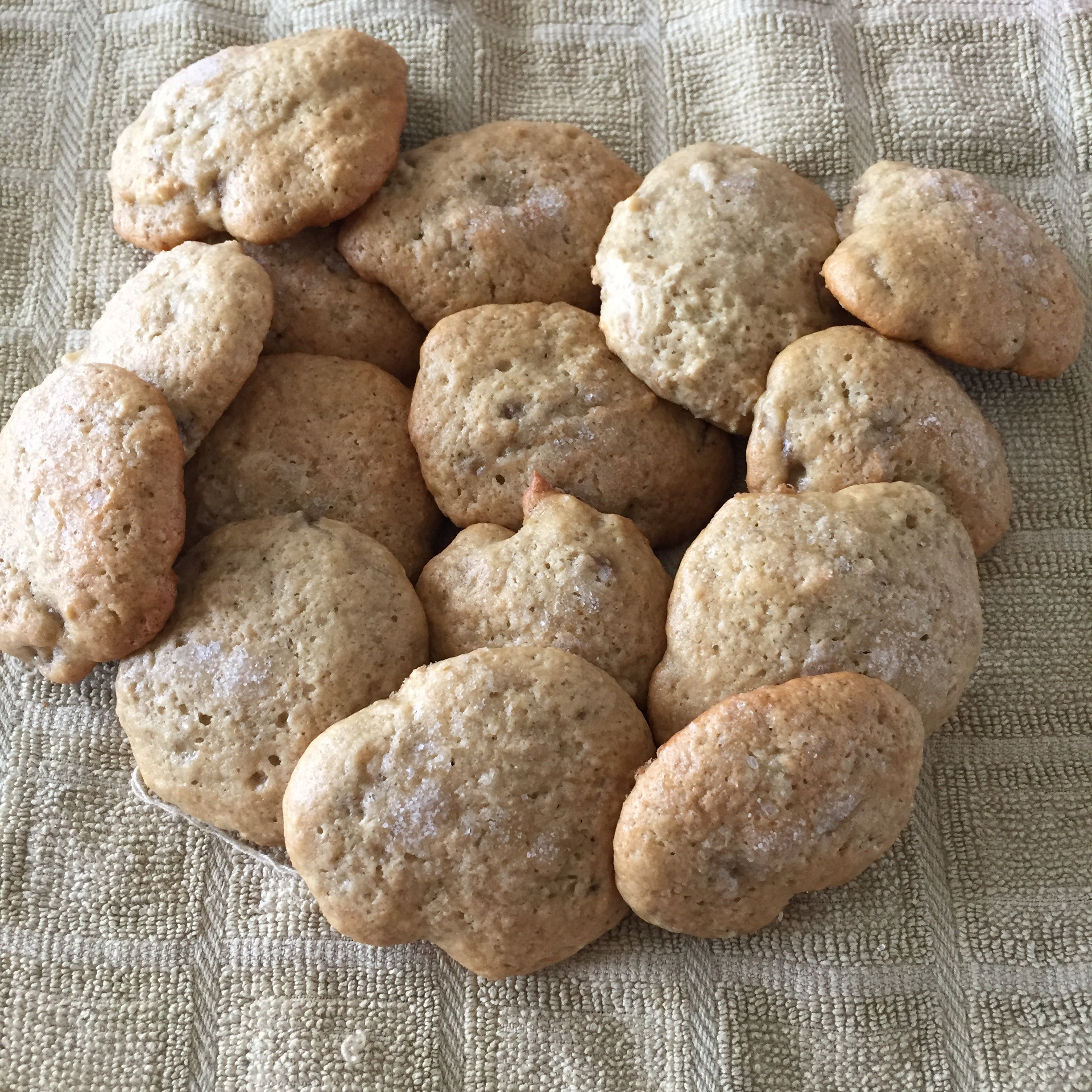 "Got some overripe bananas? Use them to mix up these delicious banana cookies. Recipe creator Tiffany Hawkey says, ""My daughter just turned one and loves to help make these. She pulls the paper from the butter, peels the bananas, mashes and mixes. It's so fast and easy. Any time we have a couple bananas going brown we mix up these."""