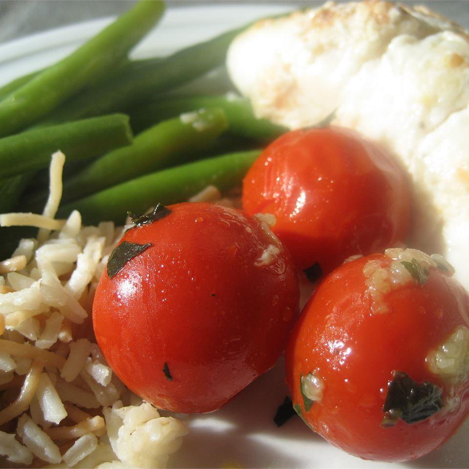 Sauteed Cherry Tomatoes with Garlic and Basil cookin'mama