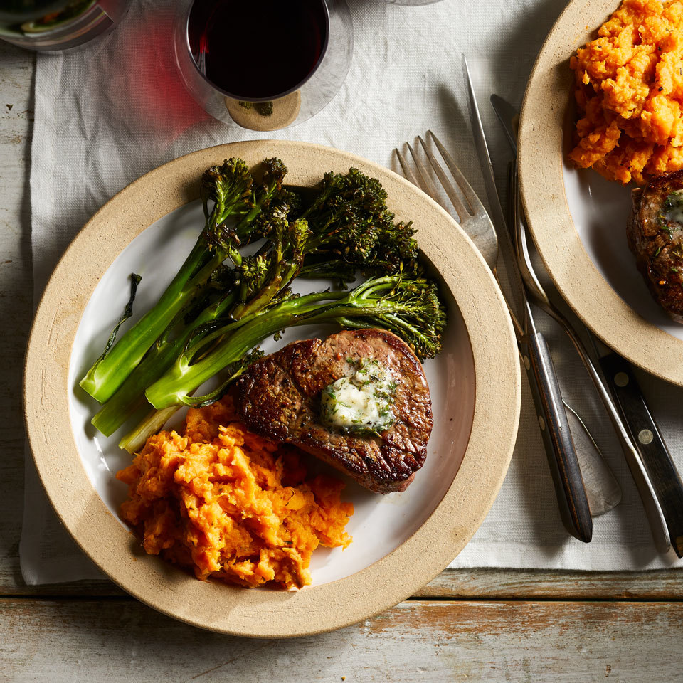 Filet Mignon for Two with Sweet Potato Mash Hilary Meyer