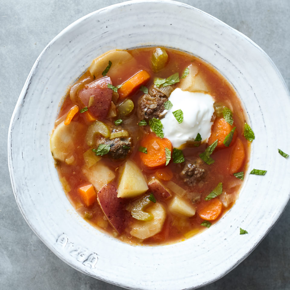 Winter Vegetable Soup with Turkish Meatballs Kathy Gunst