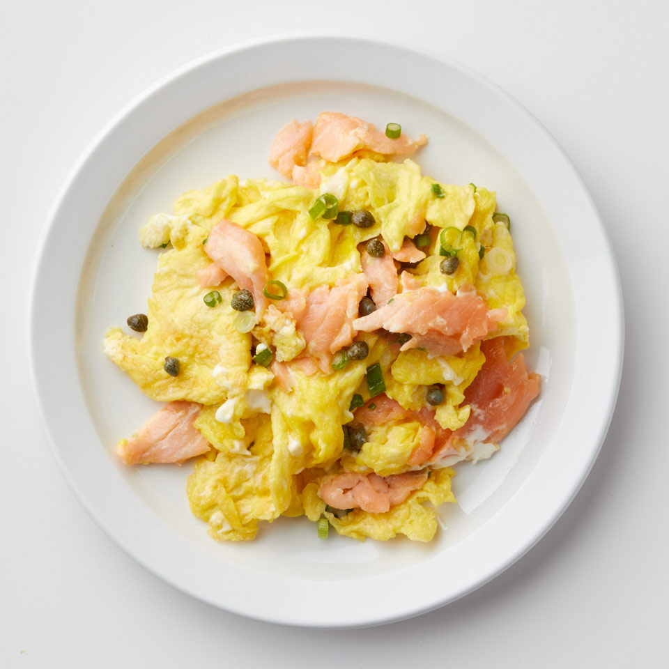 Make a big batch of this healthy scrambled egg recipe and serve it with bagels for a fun brunch. Source: EatingWell Magazine, January/February 2018