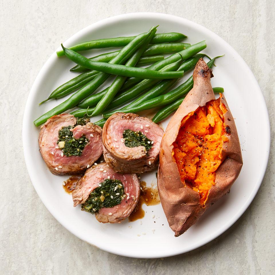 Sesame-Spinach Stuffed Flank Steak Breana Killeen