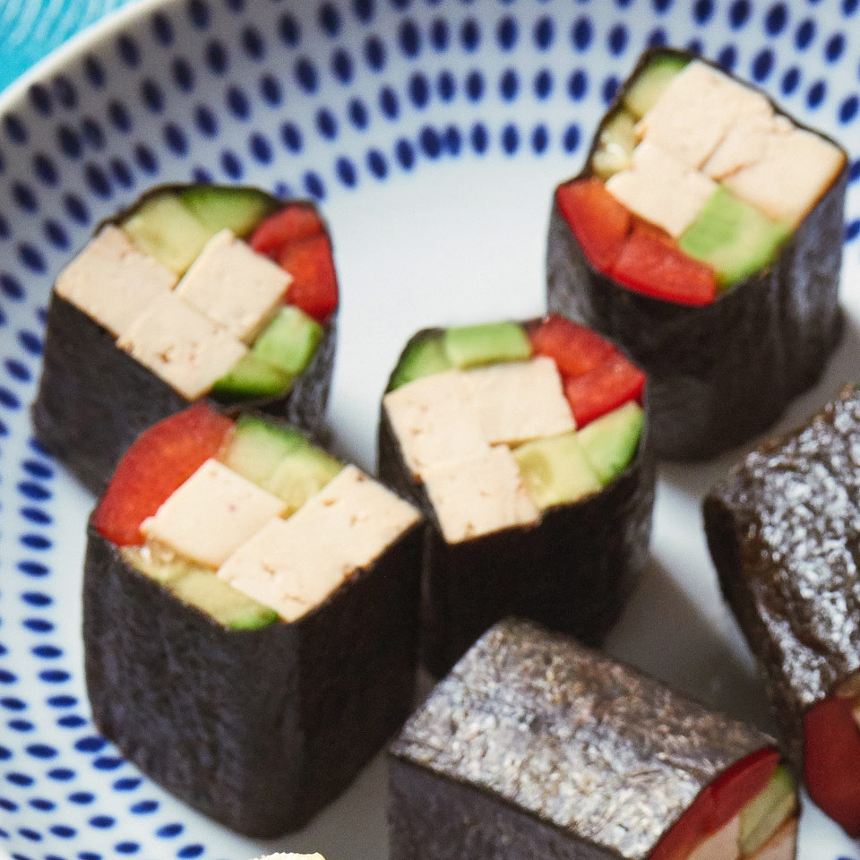 Skip the rice and roll up veggies and protein for this healthy sushi snack. If you can't find smoked tofu, try teriyaki or another Asian-flavored baked tofu.
