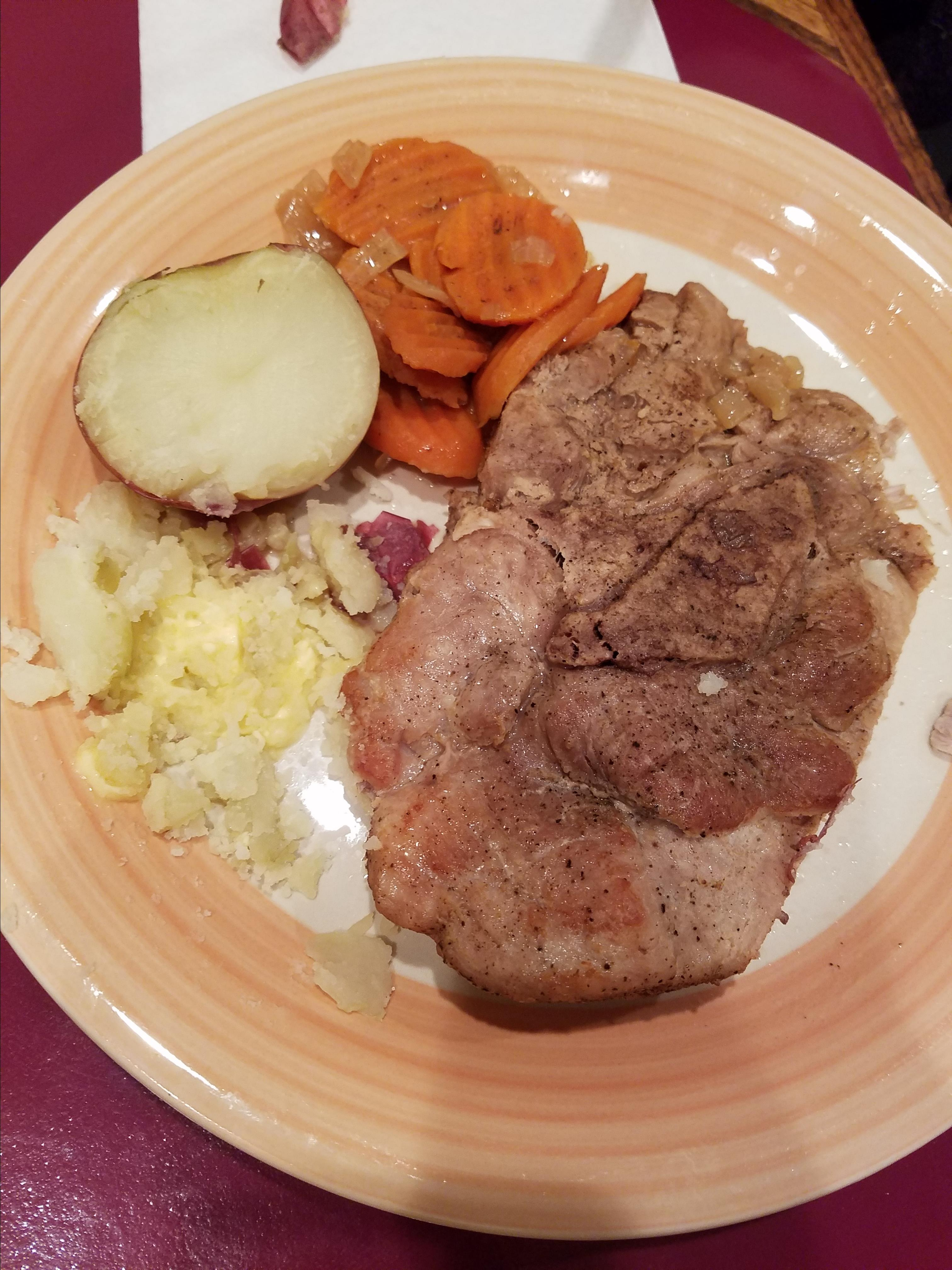 Pressure Cooker Bone-In Pork Chops, Baked Potatoes, and Carrots lori010993