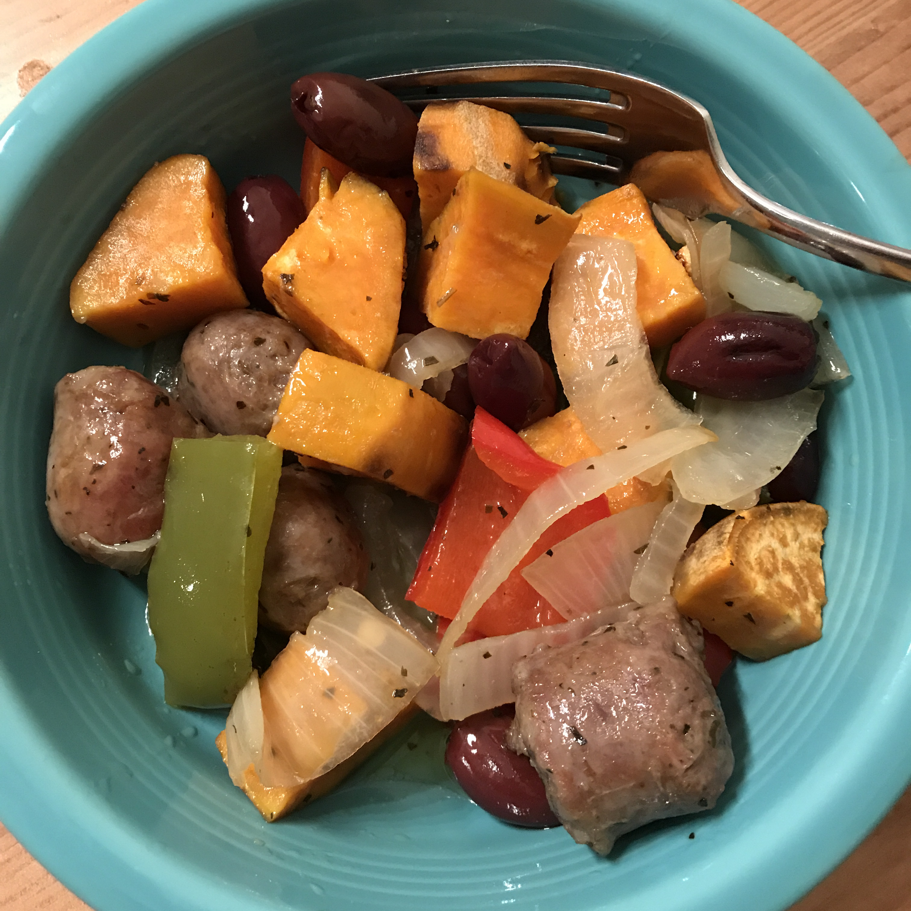 Italian Sausages with Roasted Sweet Potatoes and Sweet Peppers Cambria_Mae