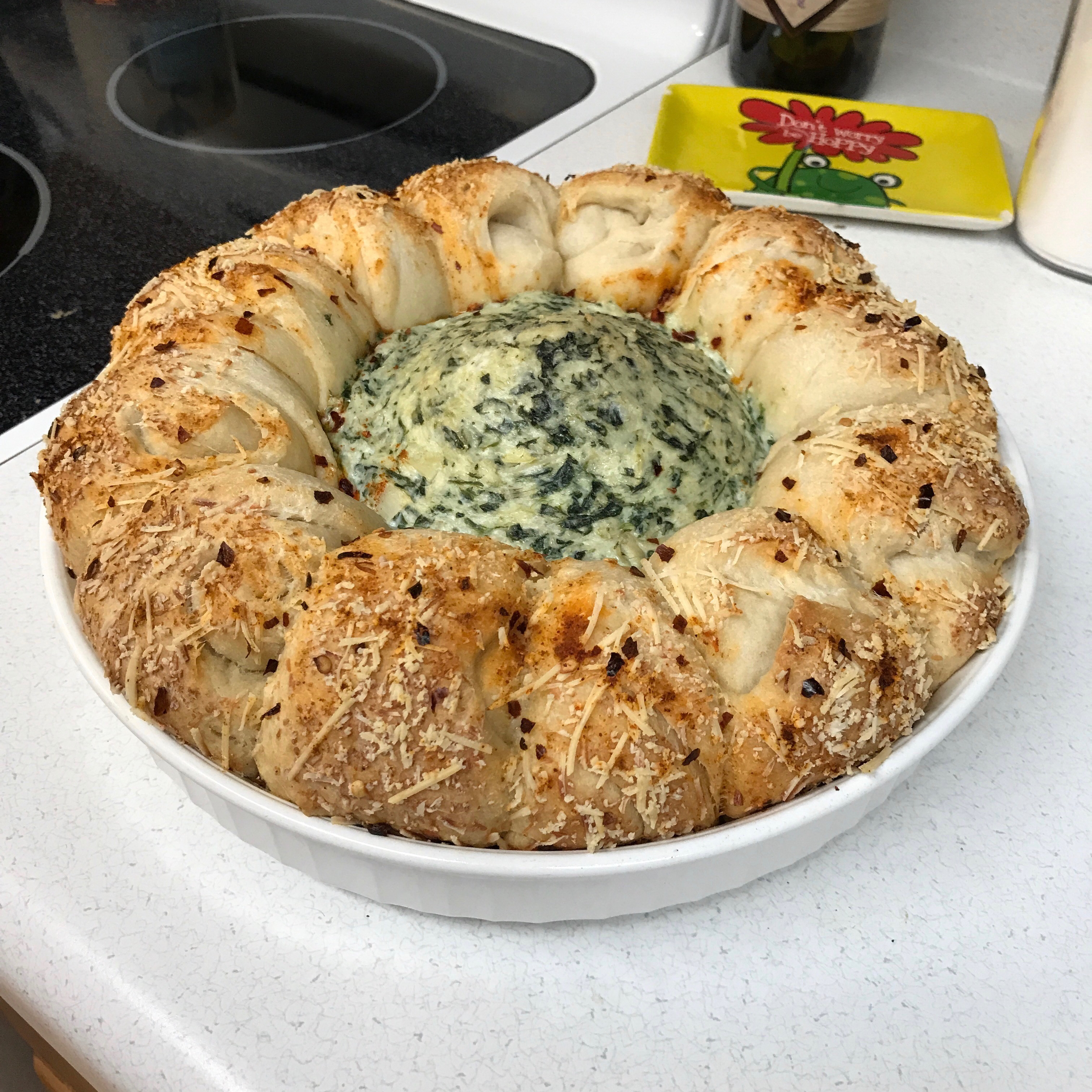 Spinach and Artichoke Dip in Pizza Dough Ball Ring