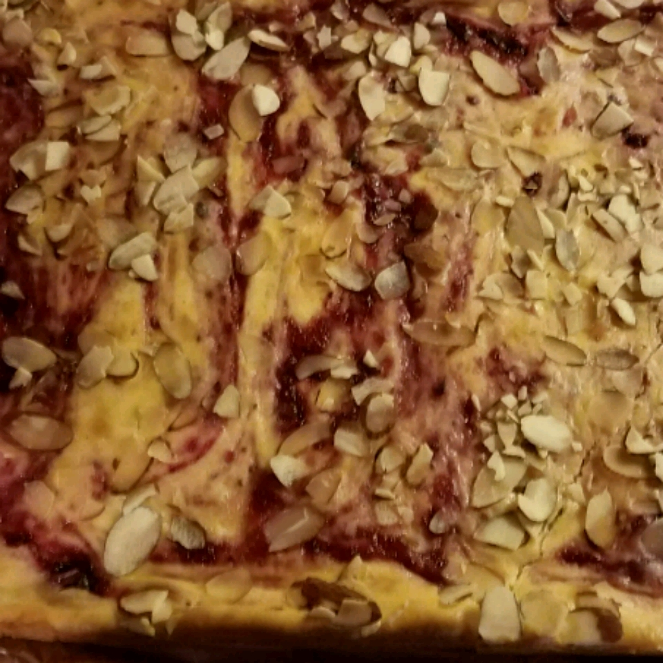 Cranberry Almond Swirl Cheesecake Cookie Bars amg