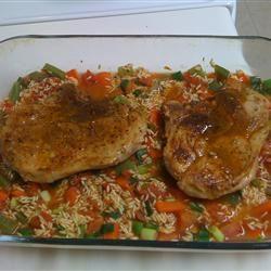 Pork Chops with Garden Rice
