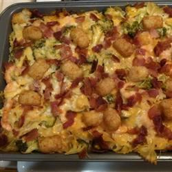 Broccoli Mac and Cheese with Bacon and Potato Nugget Topping franceshigoy