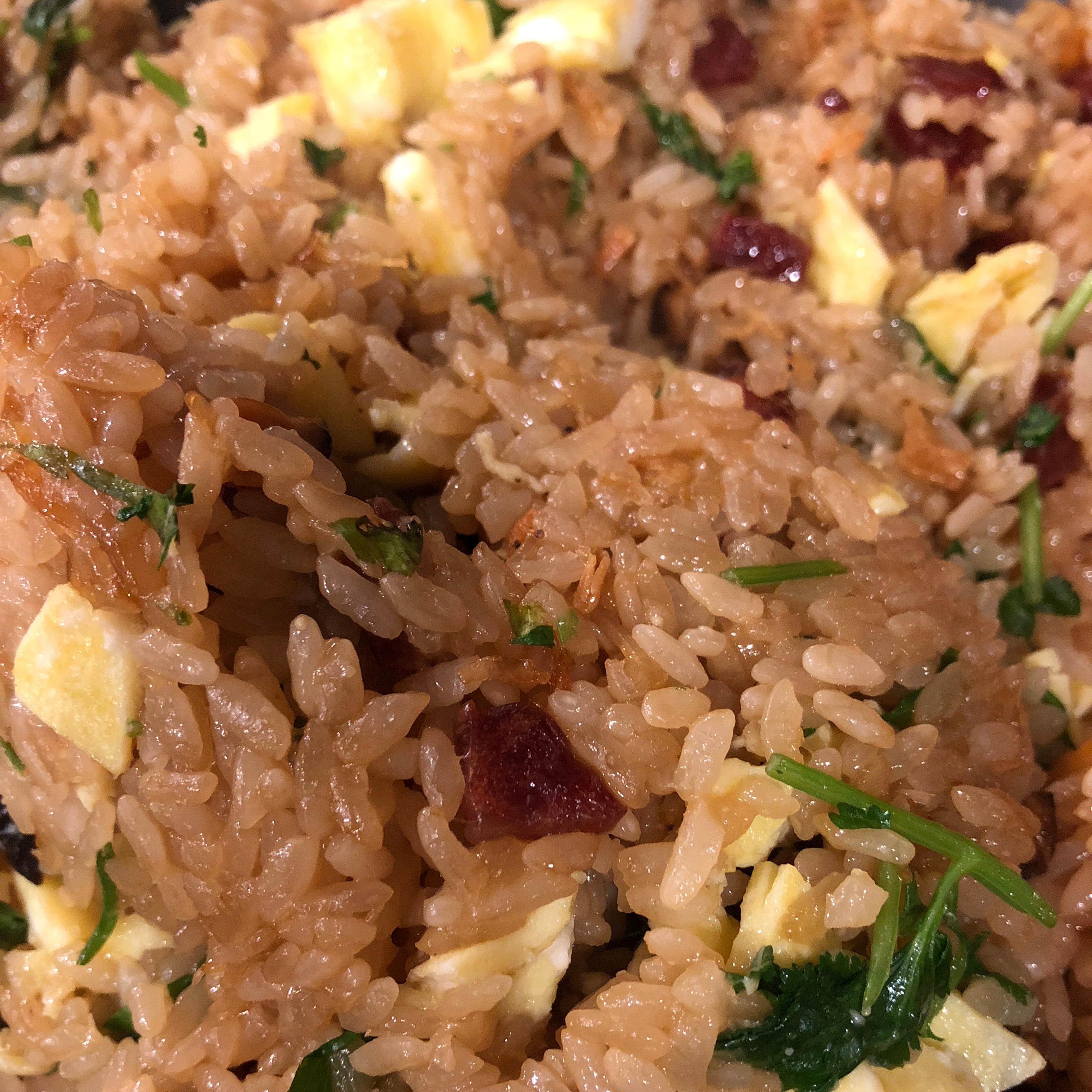 Chinese Stir-Fried Sticky Rice with Chinese Sausage hello angie